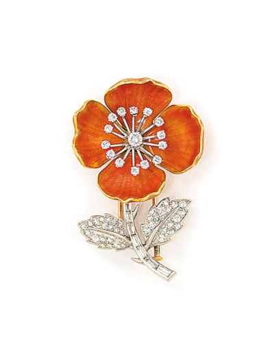 AN ENAMEL AND DIAMOND FLOWER B