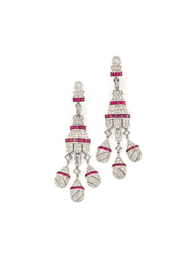 A PAIR OF DIAMOND AND RUBY PEN
