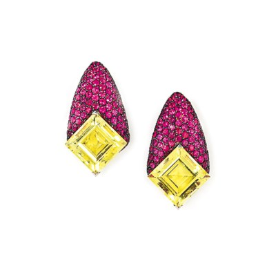 A PAIR OF RUBY AND CITRINE EAR
