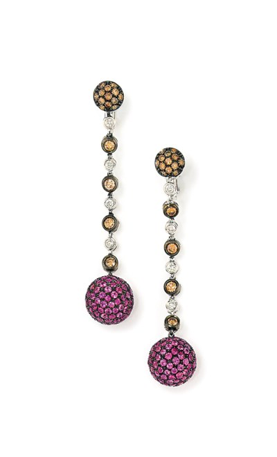 A PAIR OF GEM-SET PENDENT EARR