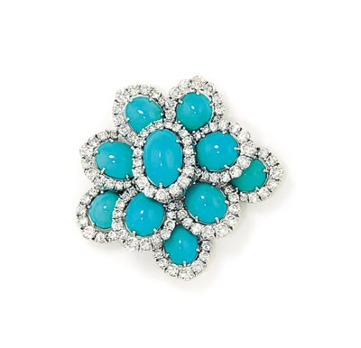 A TURQUOISE AND DIAMOND BROOCH