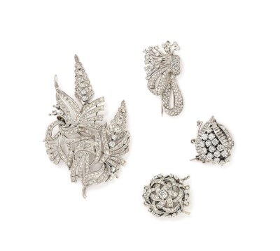 TWO DIAMOND BROOCHES AND TWO D
