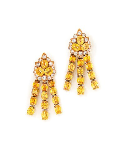 A PAIR OF YELLOW SAPPHIRE AND