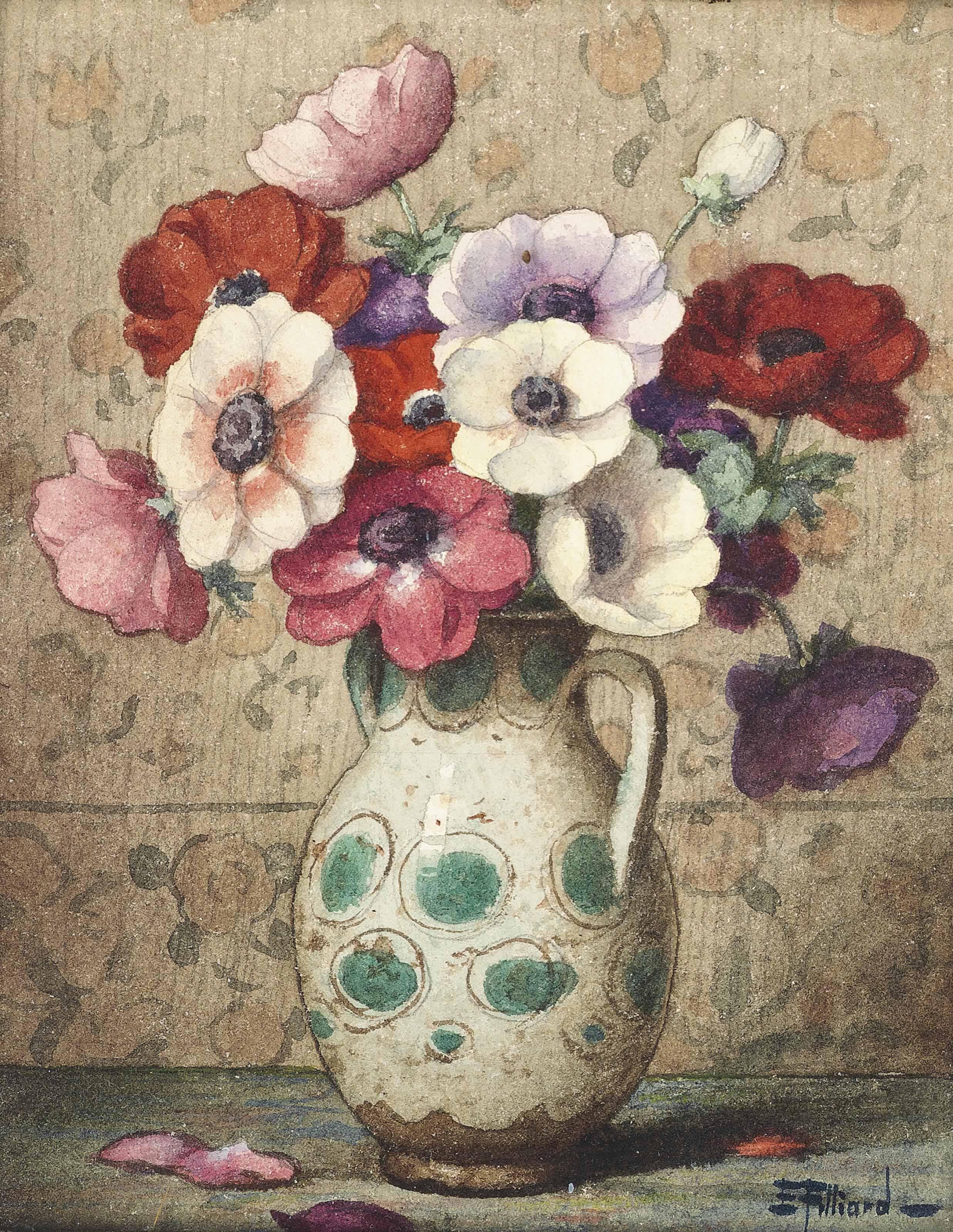 Anemones in a green and white Jug; Carnations in a blue and white Vase
