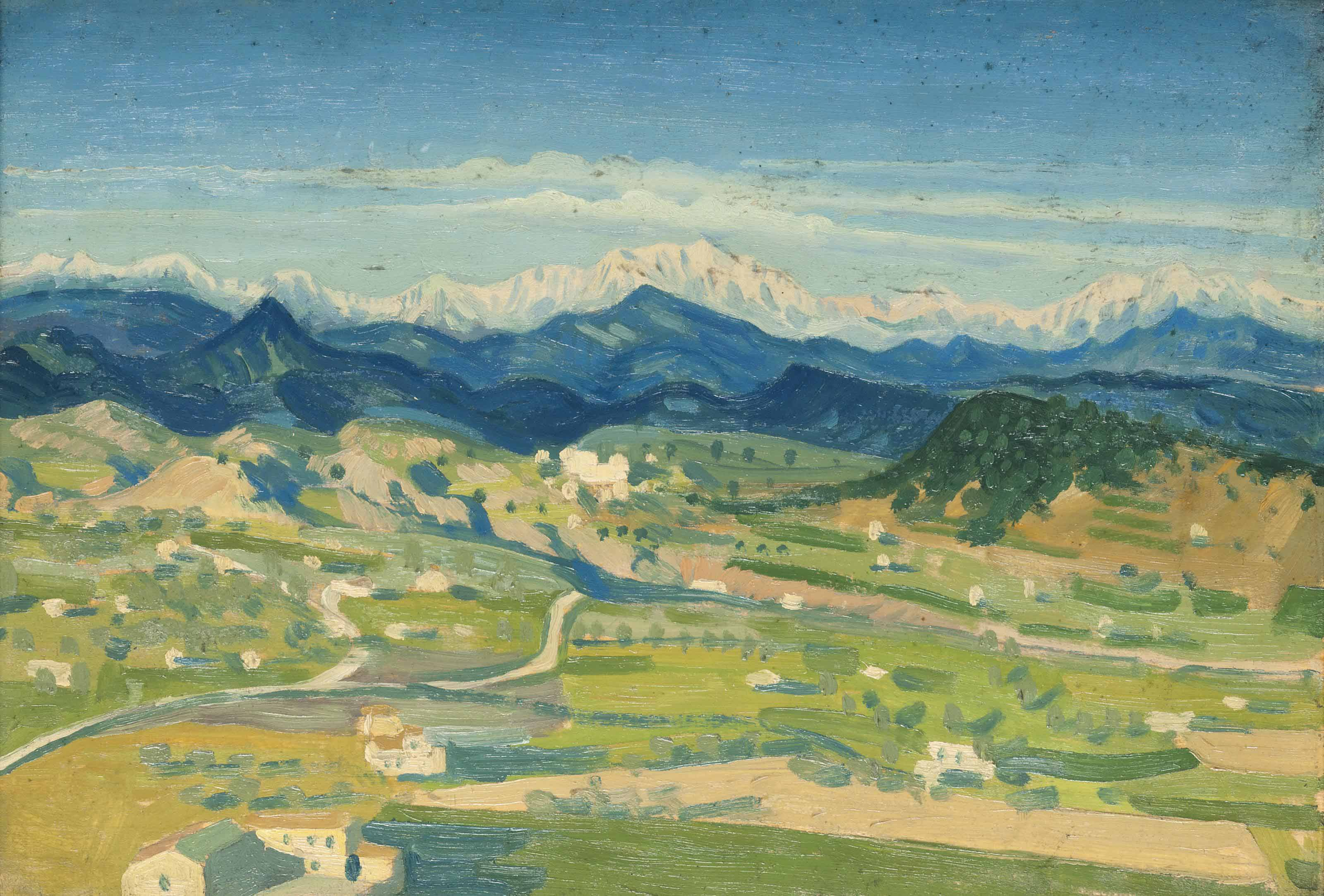 Italian landscape with the Alps beyond