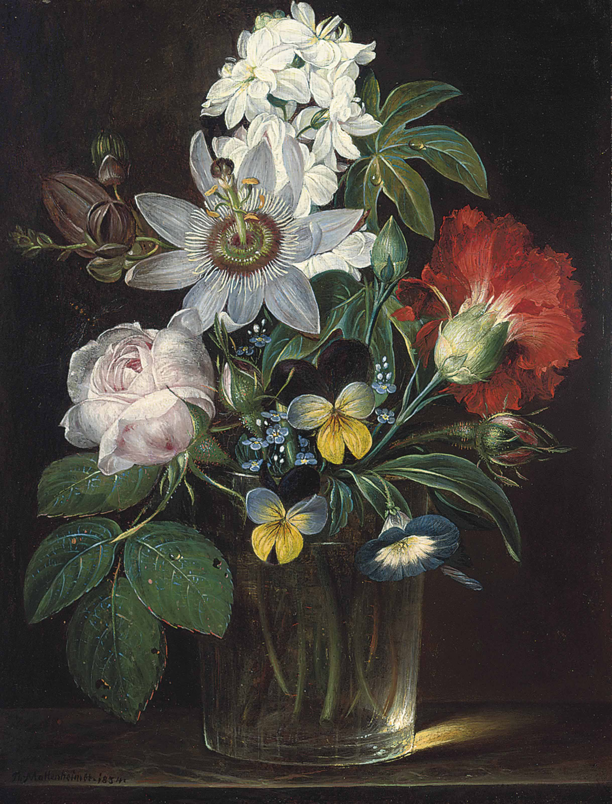 Roses, a carnation, forget-me-nots, violets, morning glory, a passion flower and a delphinium in a glass vase