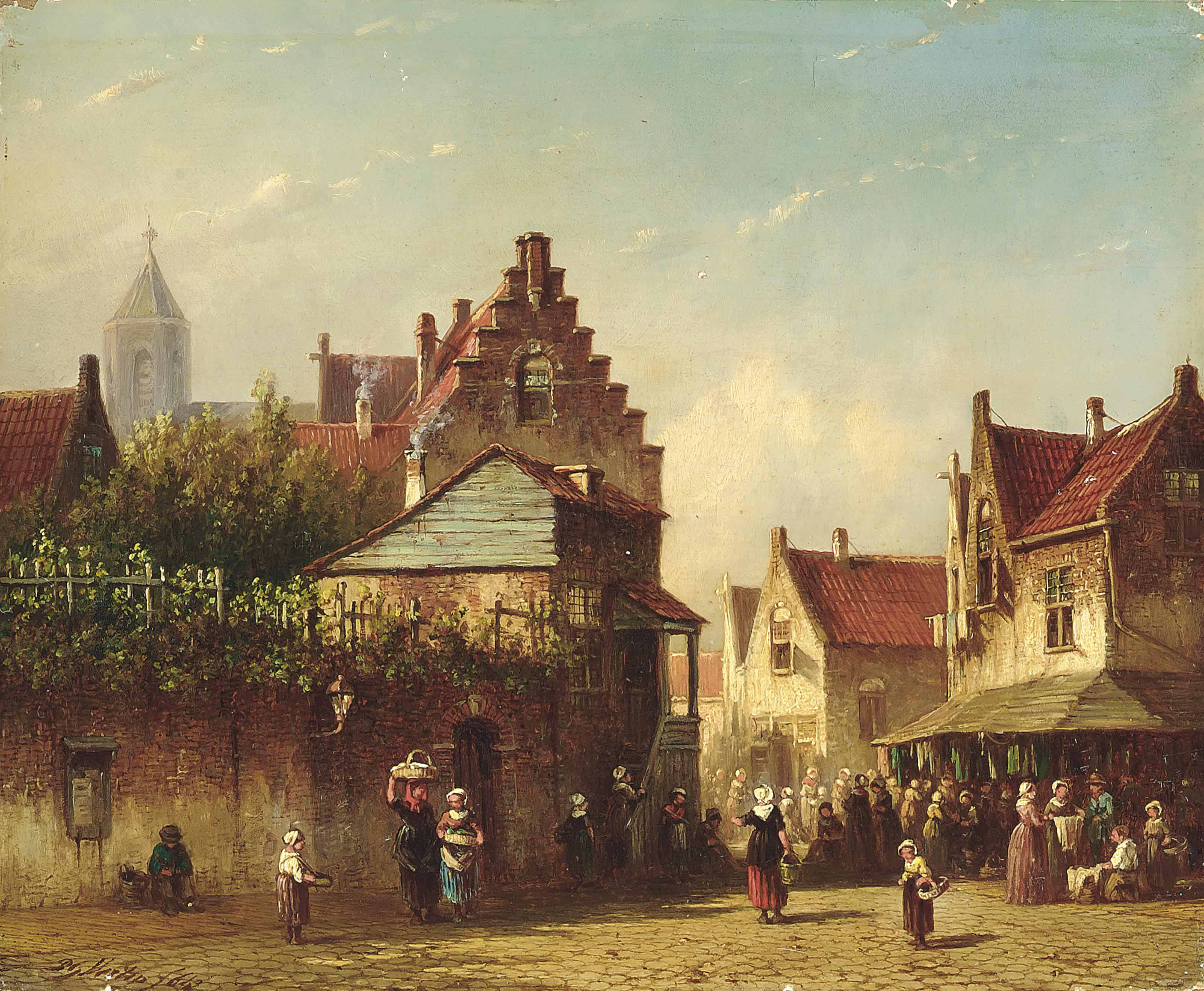 A bustling market on a Dutch street