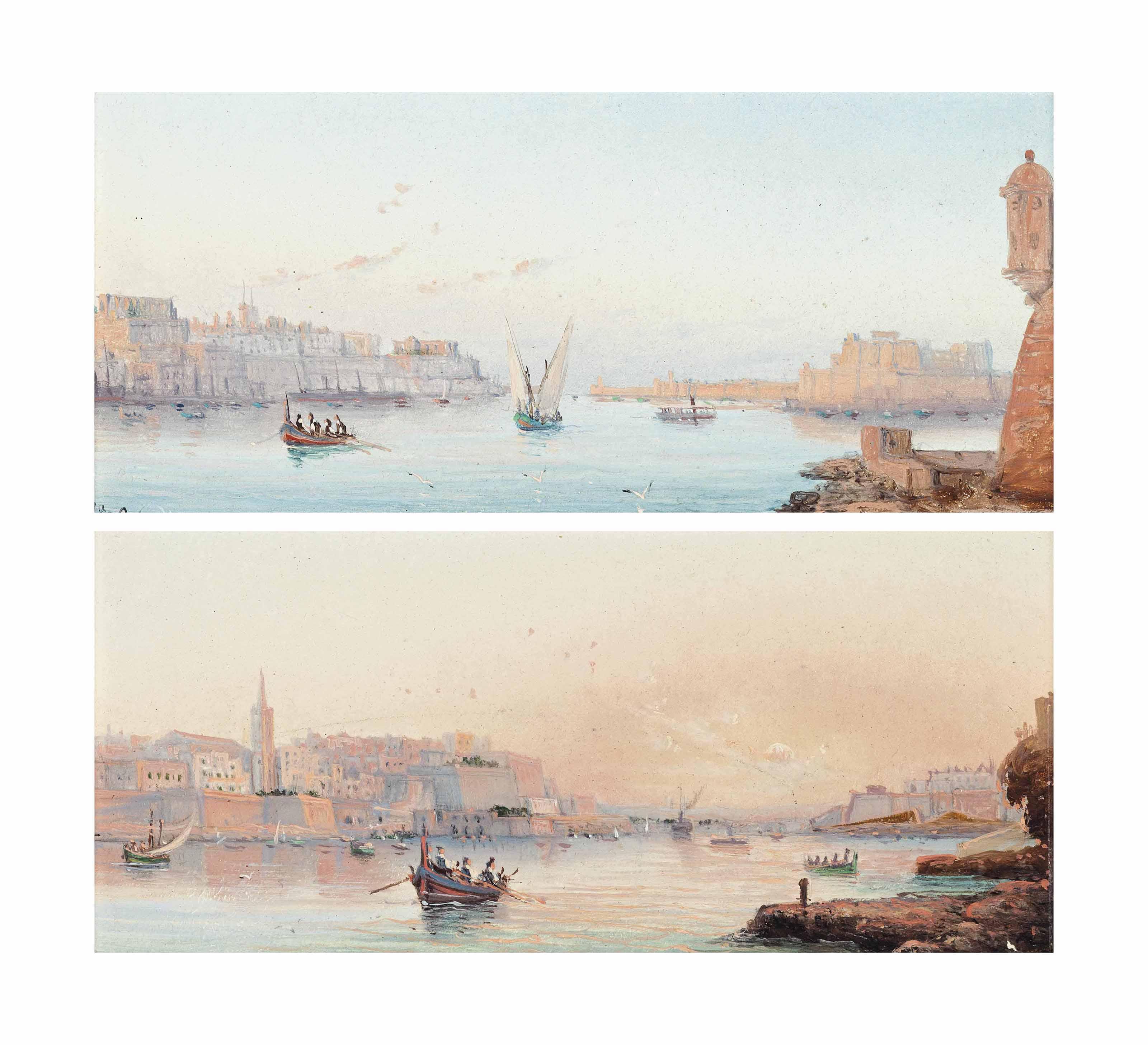 The Grand harbour, Valletta; and Marsamxett harbour at dusk, Valletta