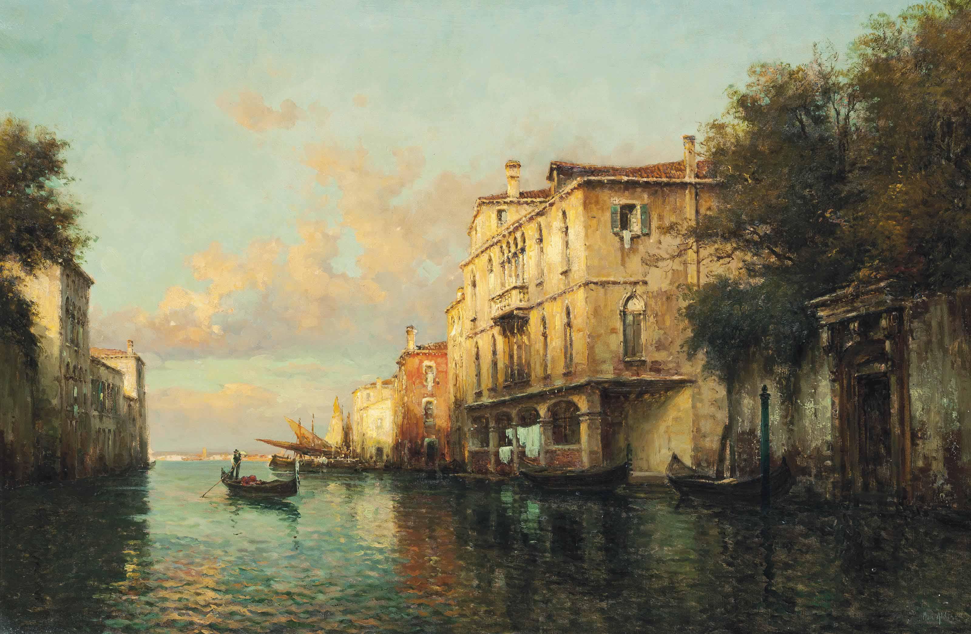 A gondola on a Venetian backwater