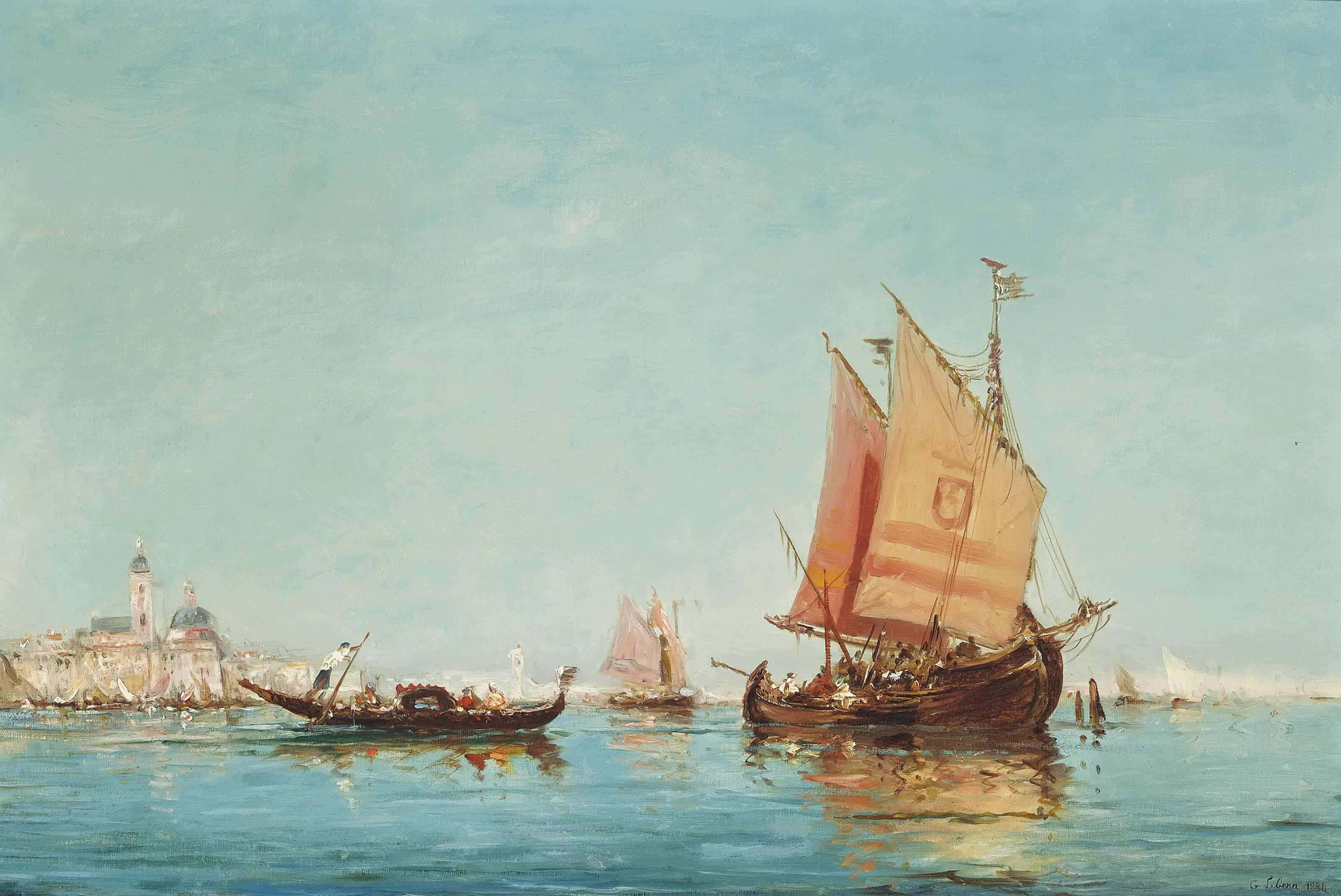 Vessels on the Venetian lagoon, Santa Maria della Salute and St Mark's Campanile beyond