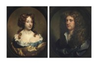 Portrait of a lady, traditionally identified as Rebecca, Lady Williamson (d. 1722), bust-length, in a blue dress and golden wrap, in a sculpted oval; and Portrait of a gentleman, traditionally identified as Sir Robert Williamson, 3rd Bt. (1640-1707), bust-length, in a white shirt and grey wrap, in a sculpted oval