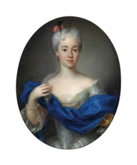 Portrait of Maria Clementina Sobieska (1702-1735), three-quarter-length, in a white dress and blue wrap