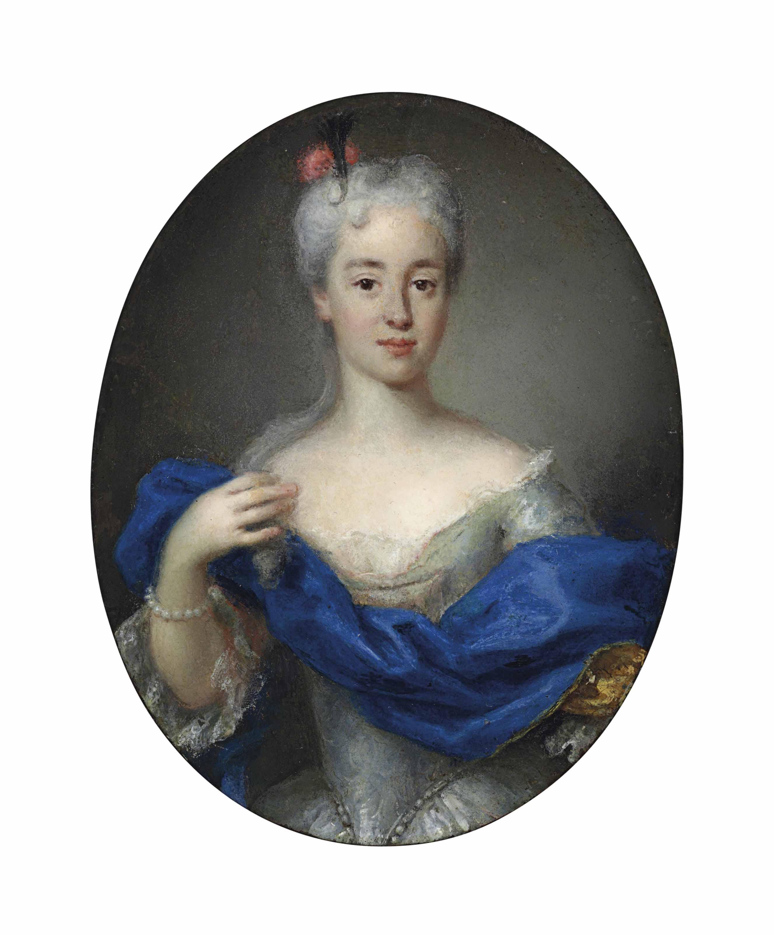 Portrait of Maria Clementina Sobieska (1702-1735), three-quarter-length, in a white dress and blue wrap