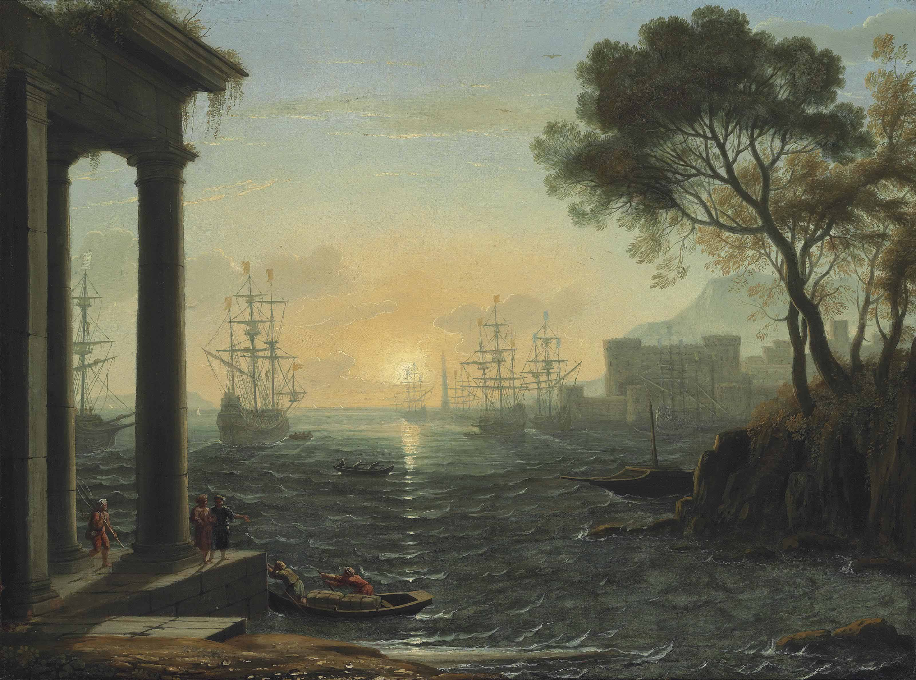 A Mediterranean port at sunset