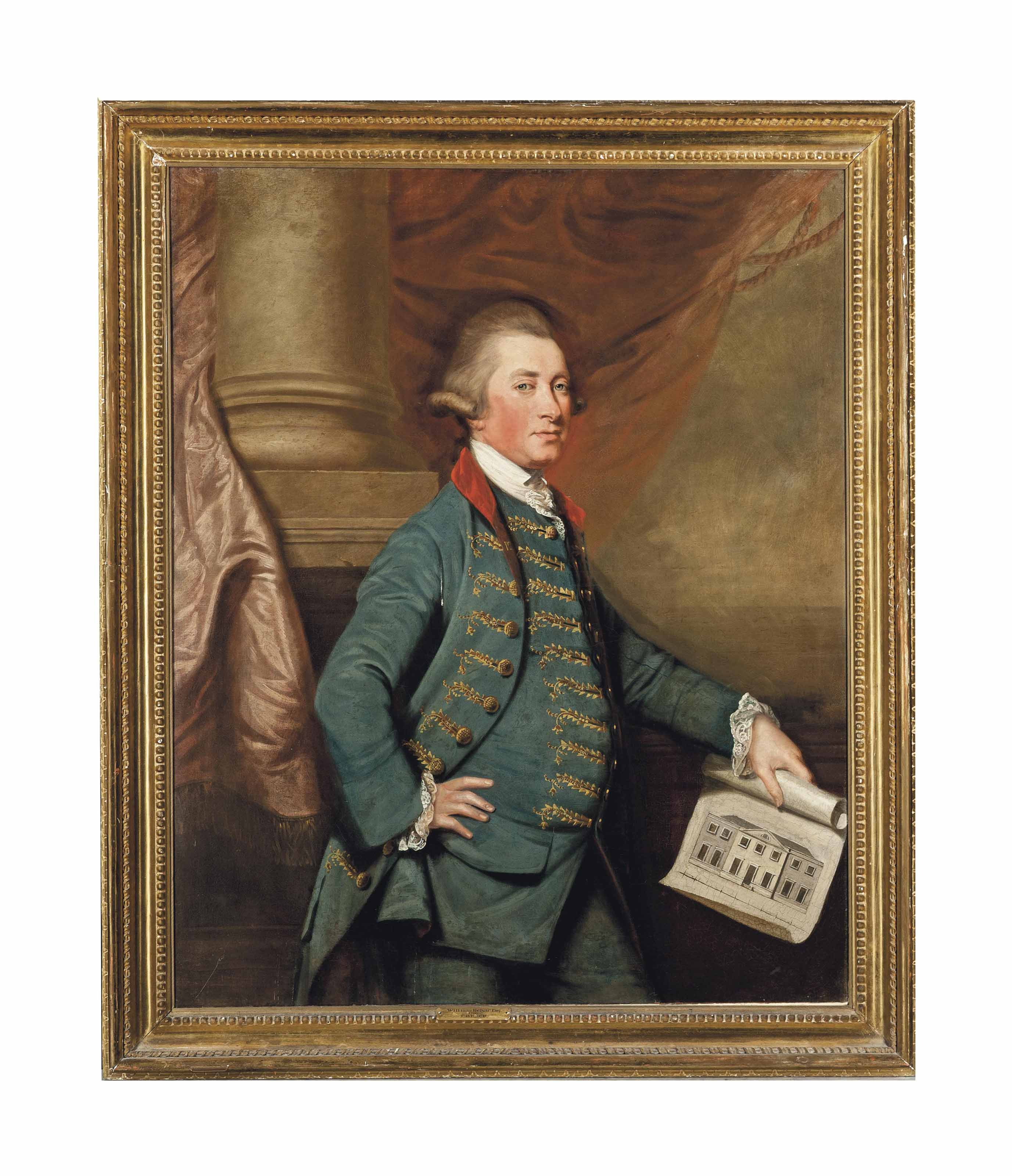 Portrait of William Helyar (d.1820), three-quarter-length, in an embroidered blue waistcoat and coat, holding a design for the Georgian wing of Coker Court, standing before a column