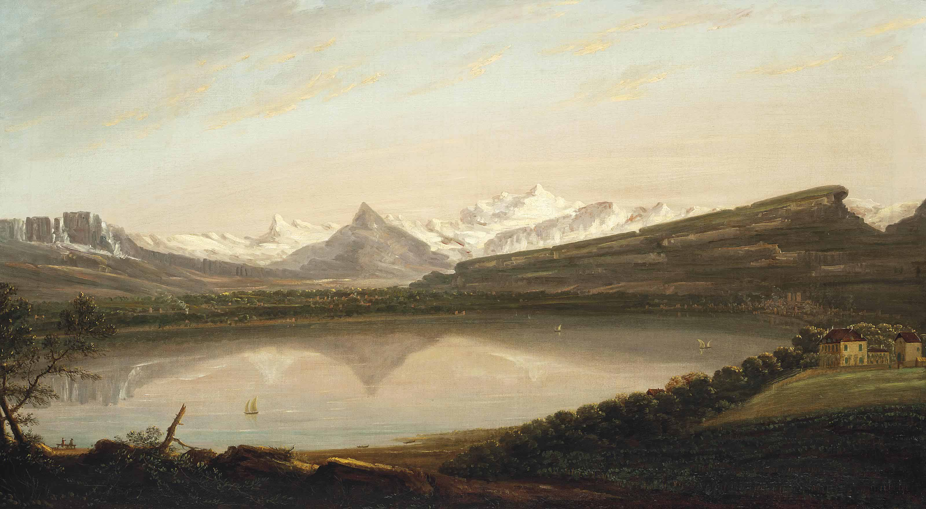 A view of Lake Geneva with the Mont Salève and Le Môle, the Mont Blanc beyond
