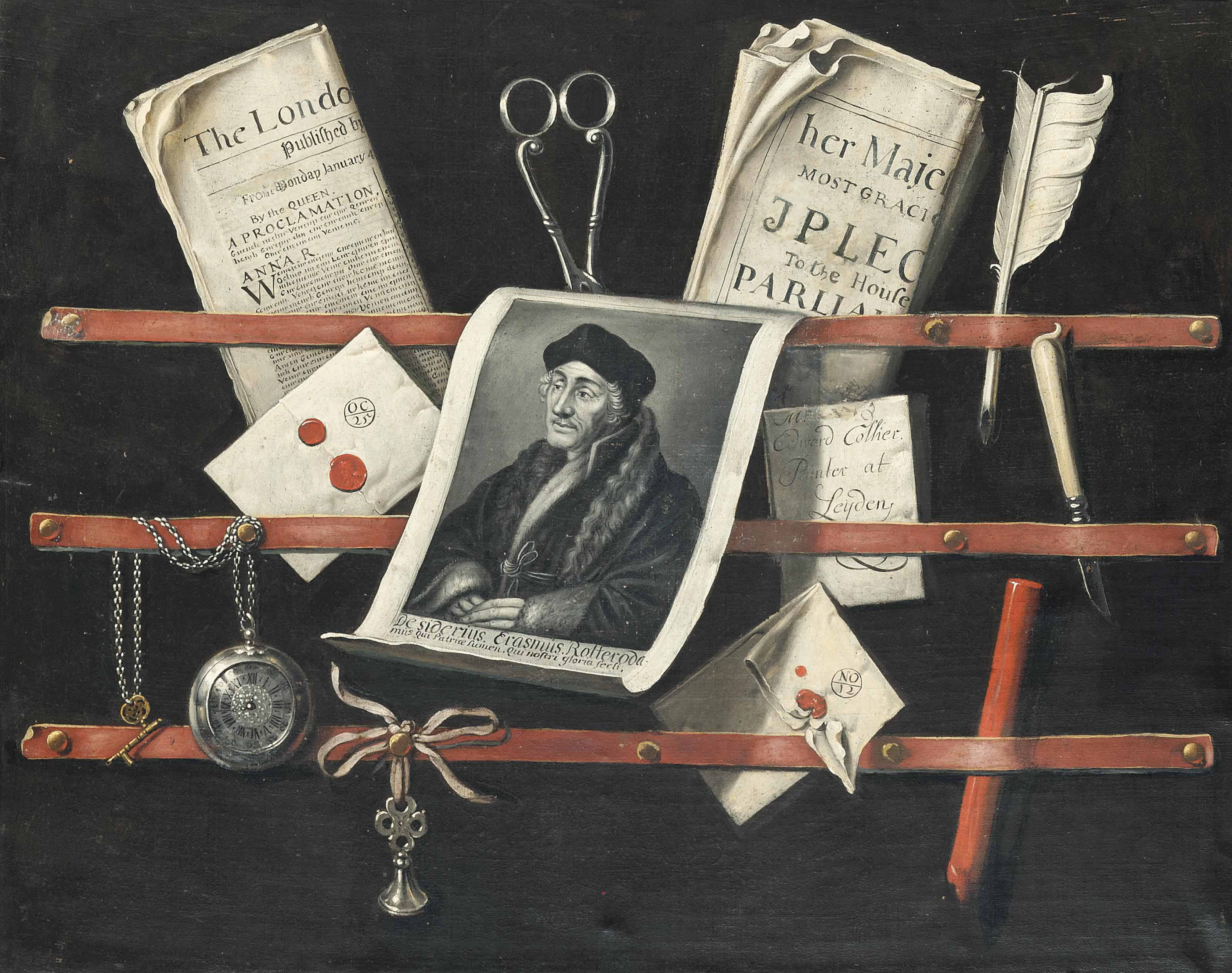 A trompe l'oeil of letters, an engraving after a portrait of Erasmus of Rotterdam (1466-1536), a quill, a pocket-watch, a stick of red wax and other objects