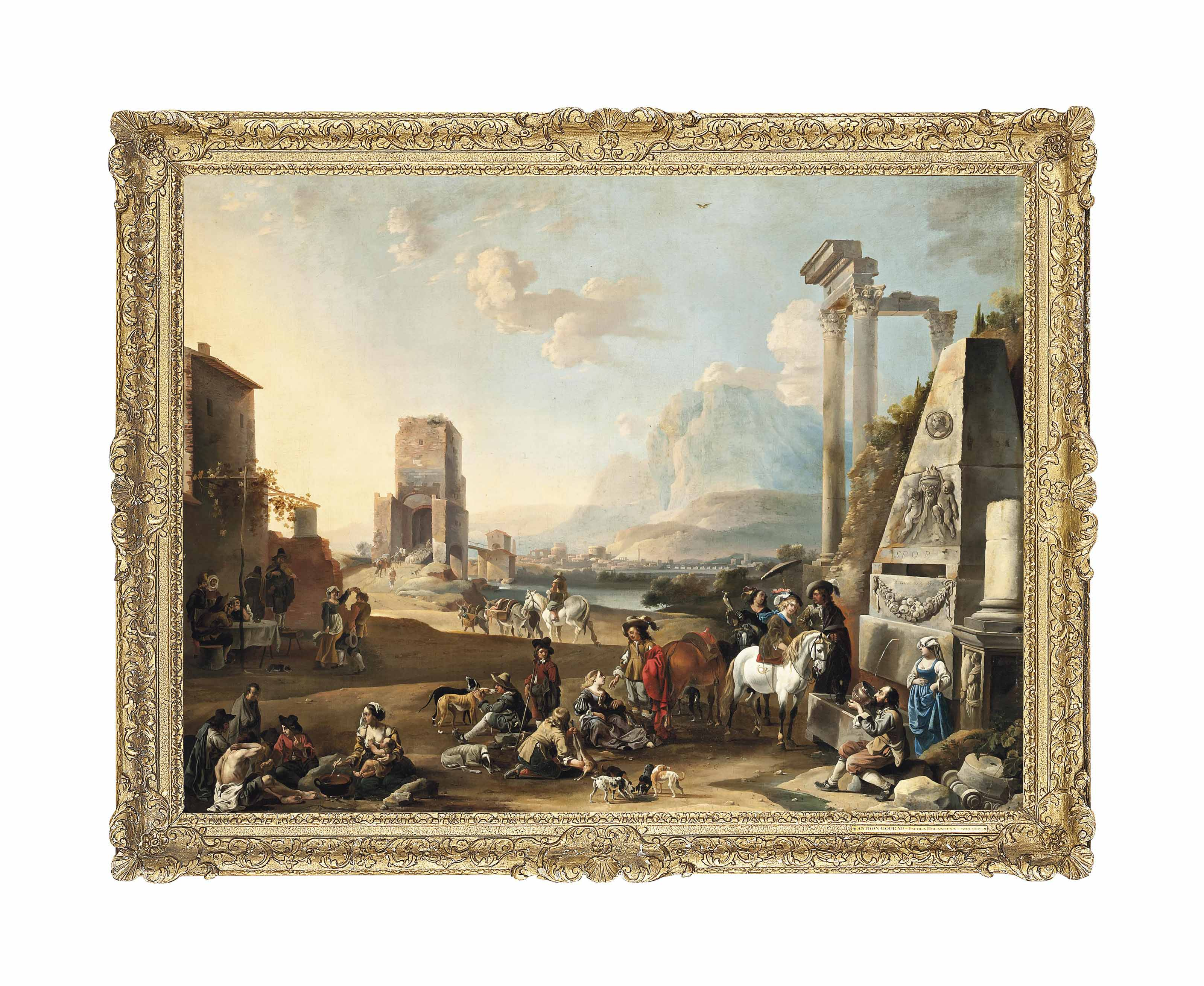 An Italianate classical landscape with figures resting near a fountain, others making merry, a town by a river beyond