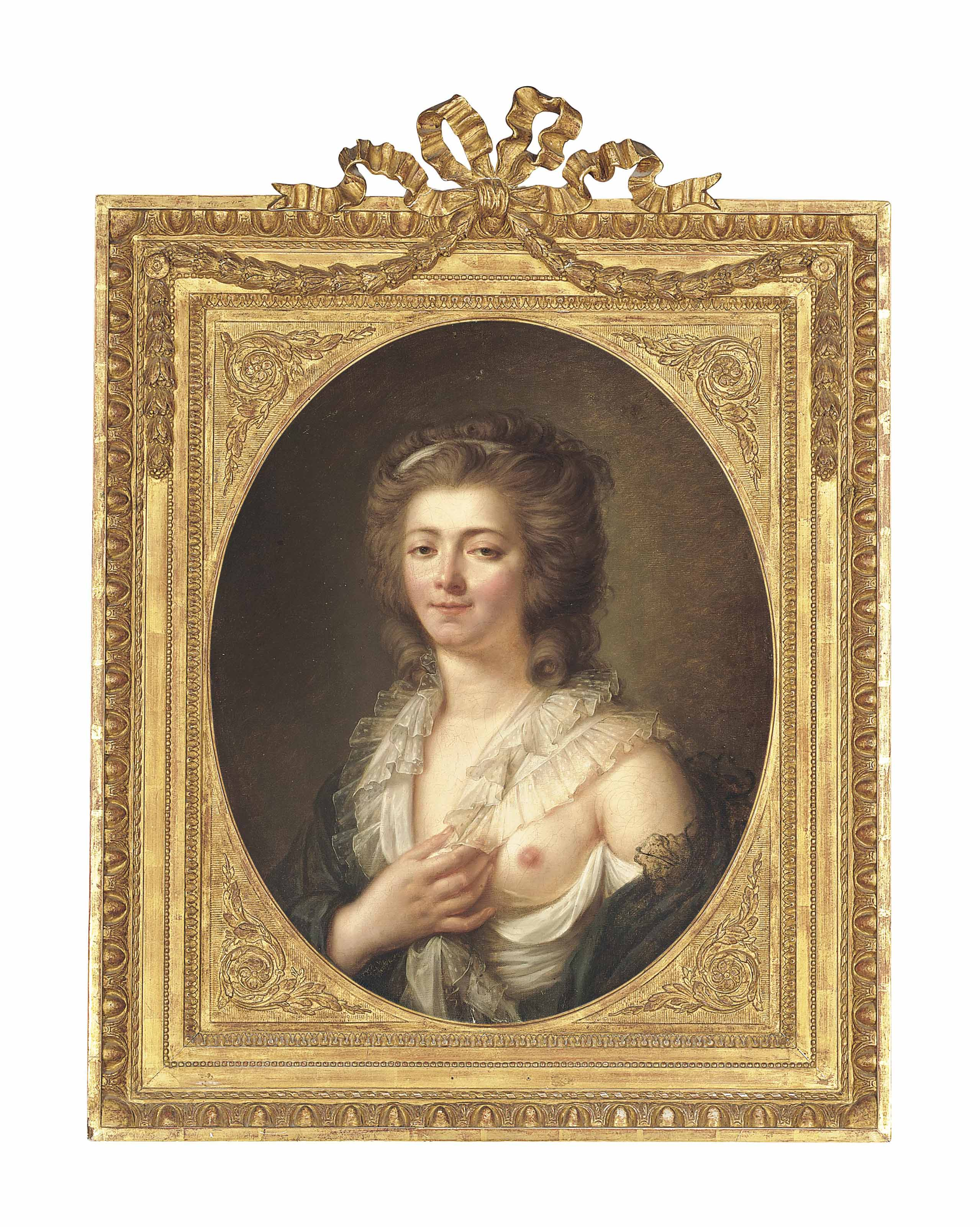Portrait of a lady, half-length, in a grey dress