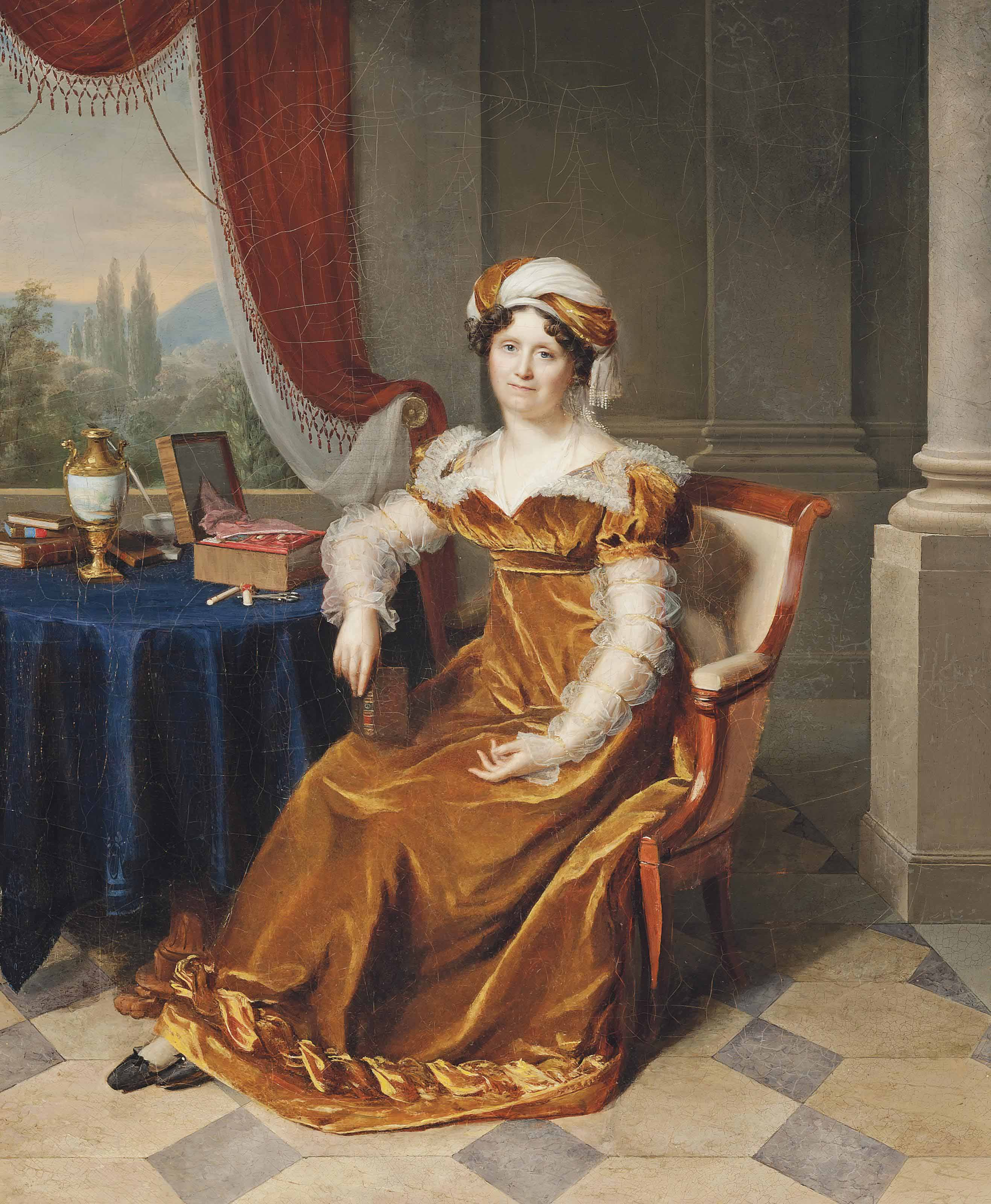 Portrait of a lady, traditionally identified as Julie Masbou, neé Garrigues, full-length, in a golden dress with a turban, in an elegant interior, a landscape beyond