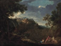 A view of Tivoli with classical figures conversing on a shore