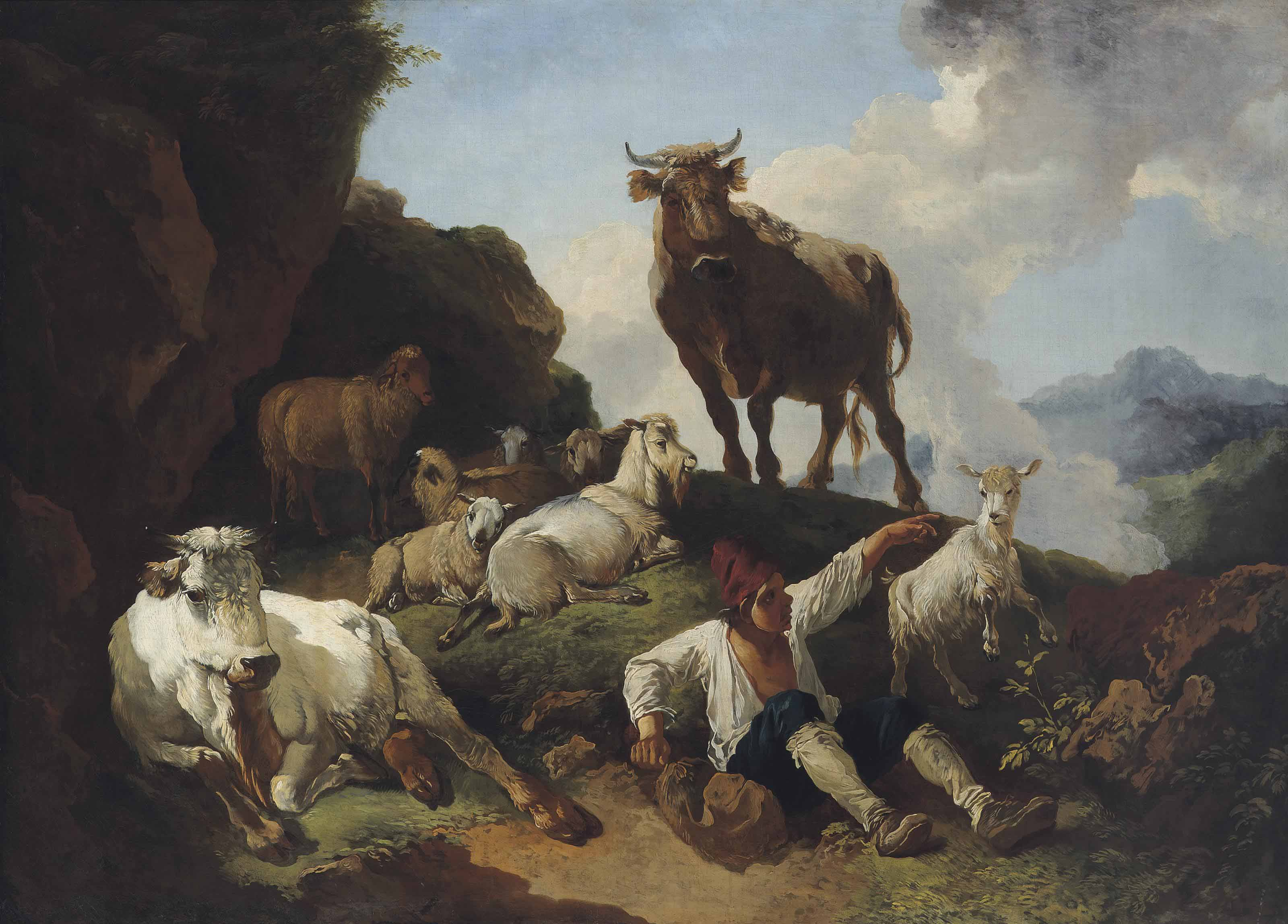 A shepherd resting with sheep, goats and a bull, in a mountainous landscape