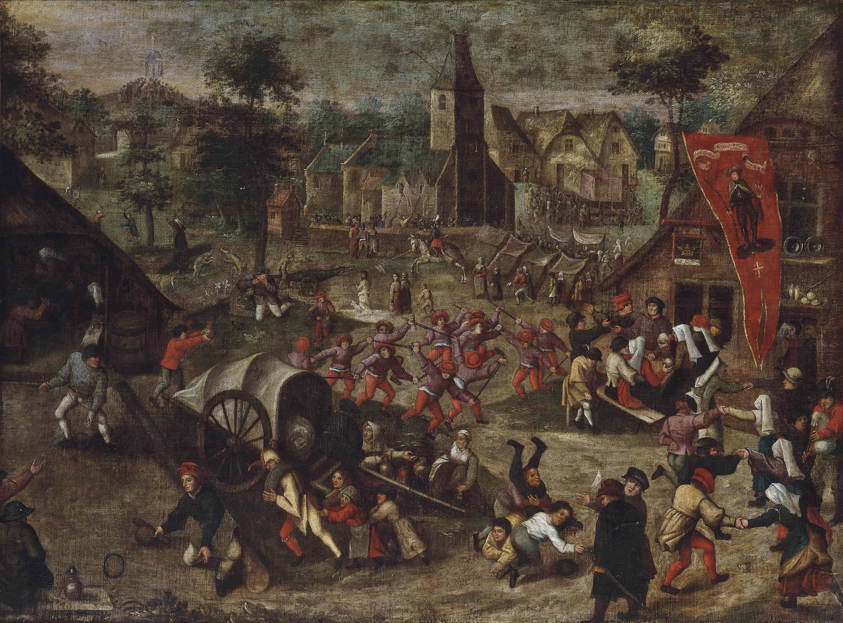 A village with figures celebrating the kermesse of Saint George