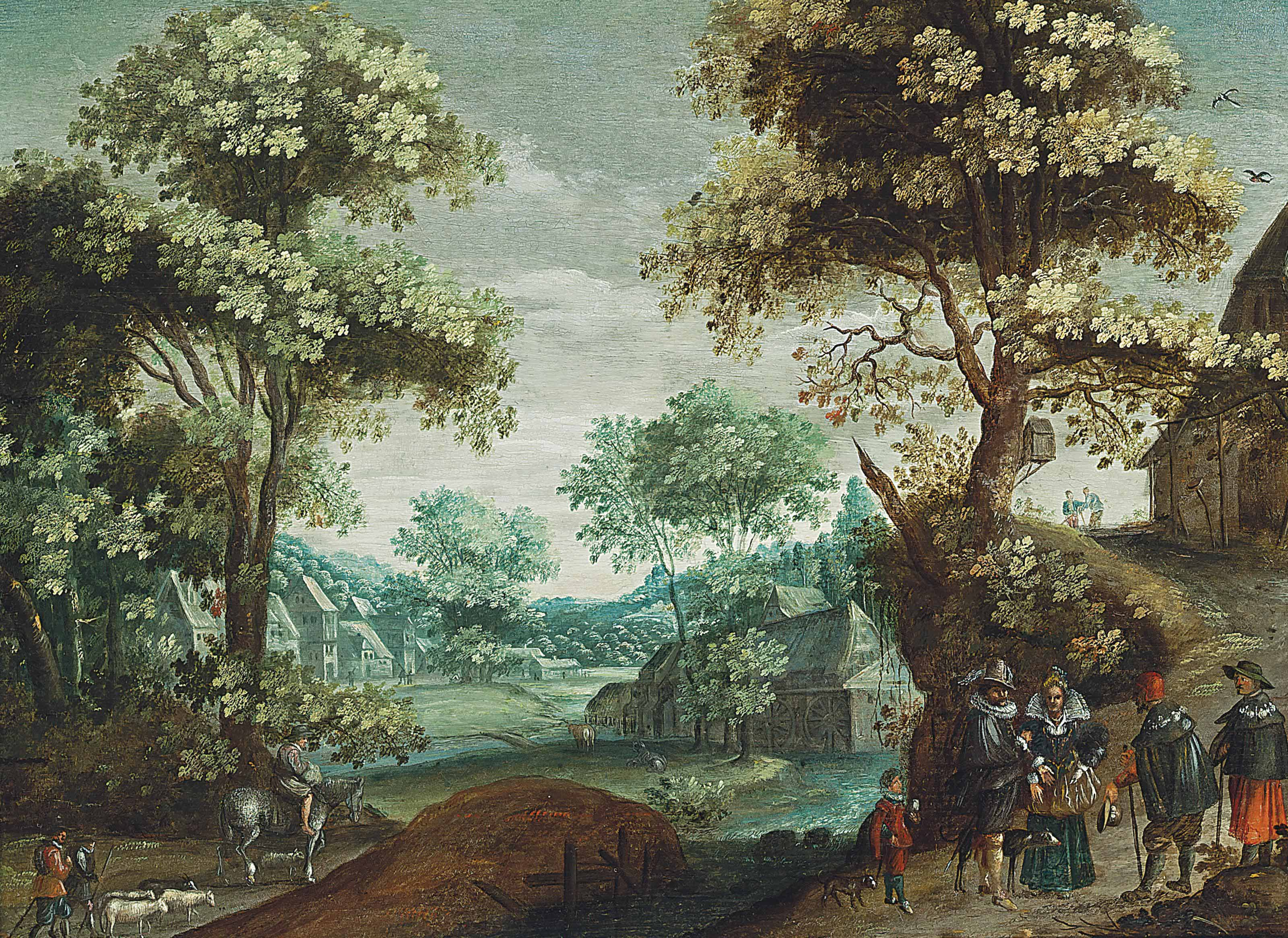 A wooded river landscape with an elegant company and other travellers on a path, a town beyond