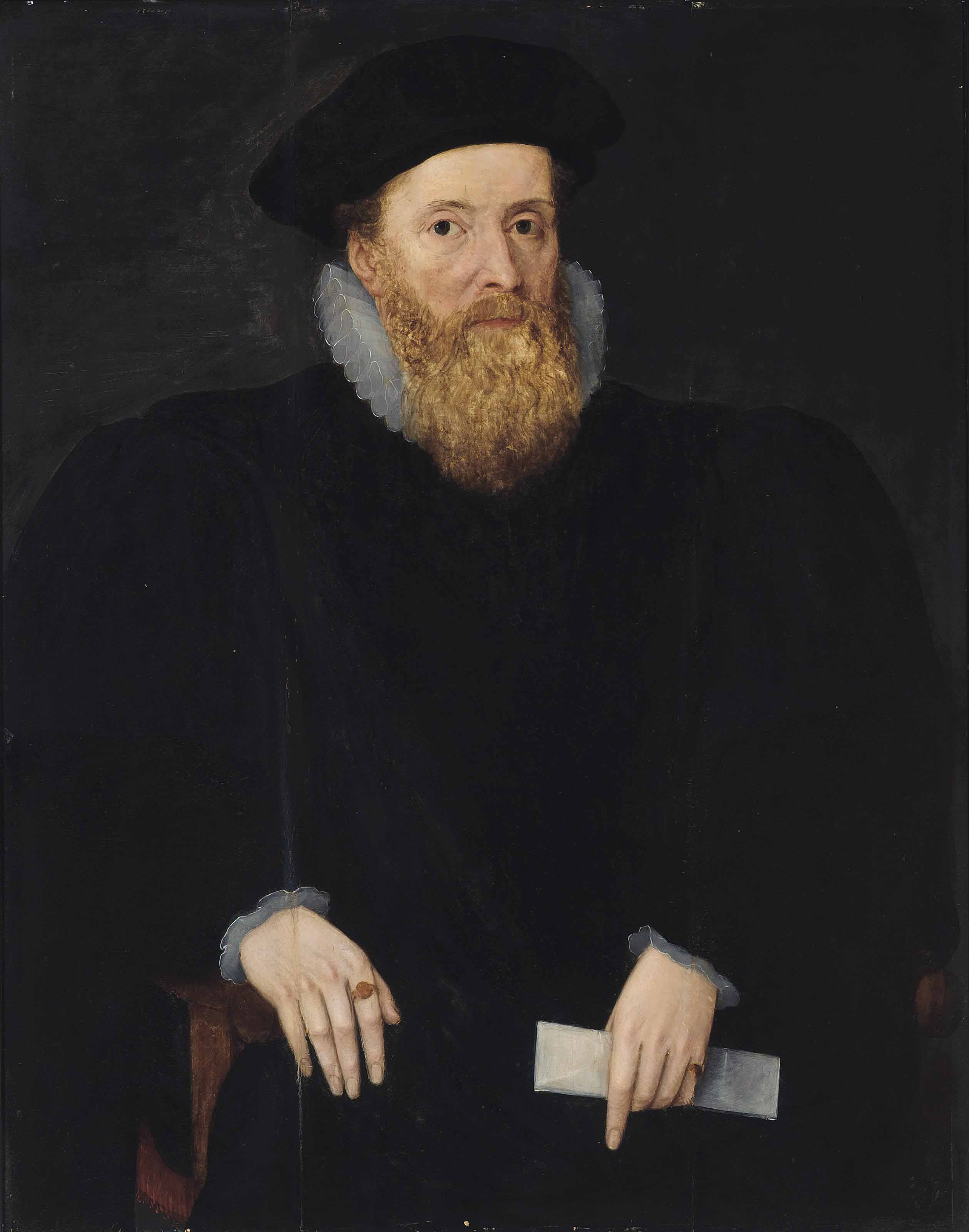 Portrait of a gentleman, possibly William Cecil, Lord Burghley (1520-1598) half-length, seated and holding a letter