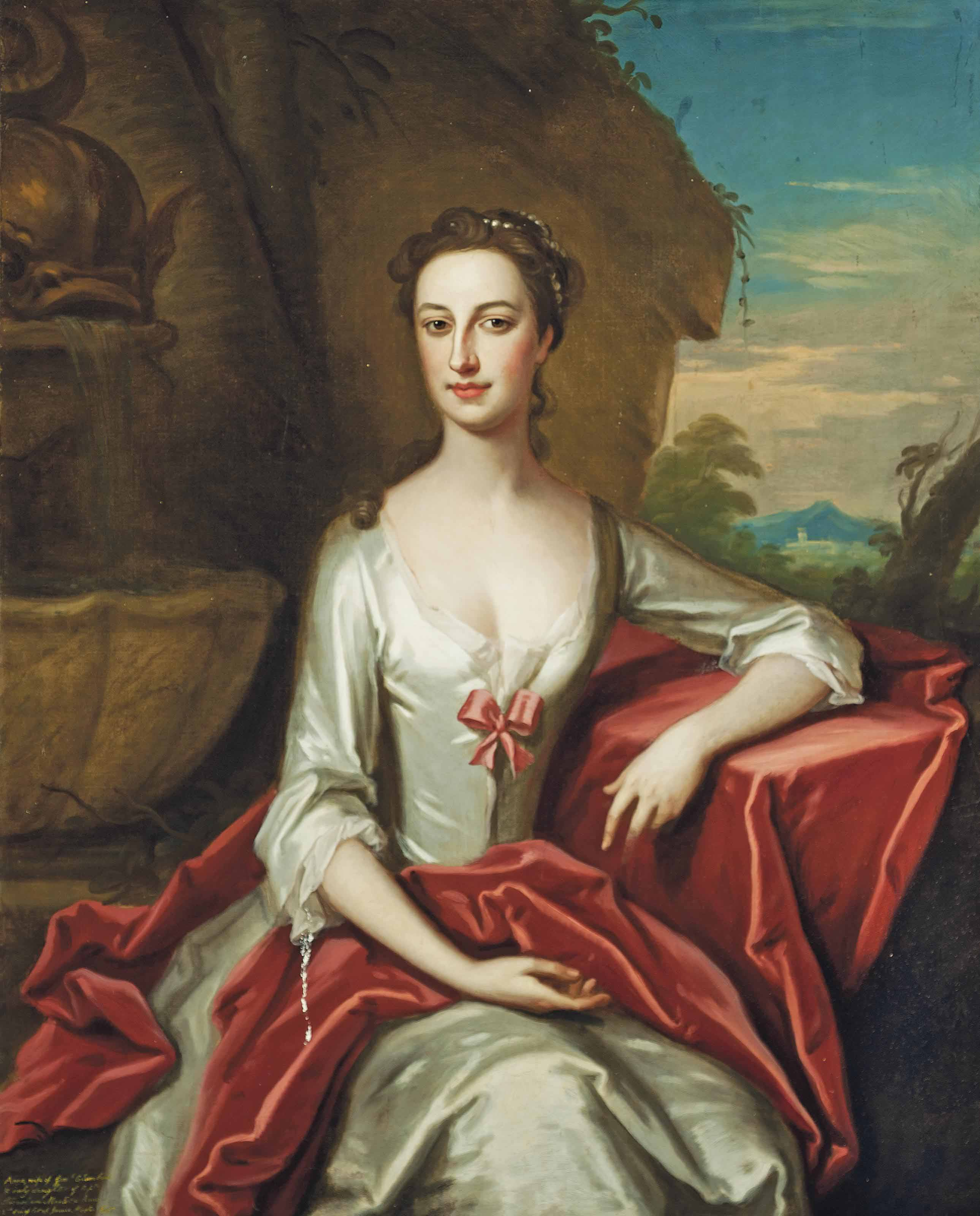 Portrait of Anne Columbine (c.1711-1771), three-quarter-length, in a white silk dress, leaning on a draped stone ledge in a garden