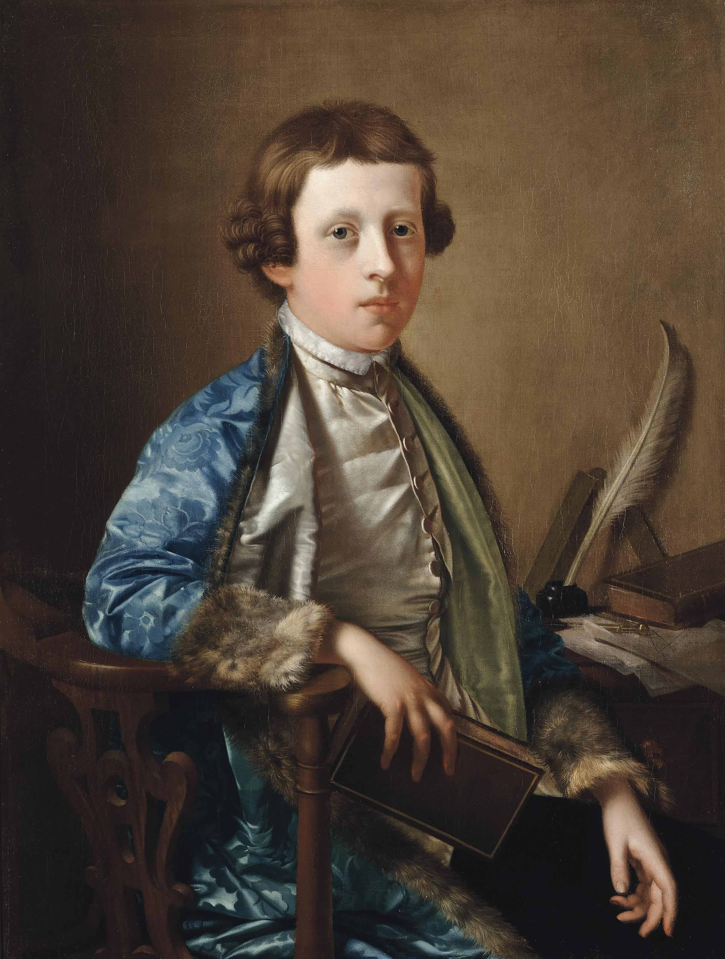 Portrait of a boy, traditionally known as John Wolffe, half-length, in a satin waistcoat and fur-lined blue coat, at a writing table