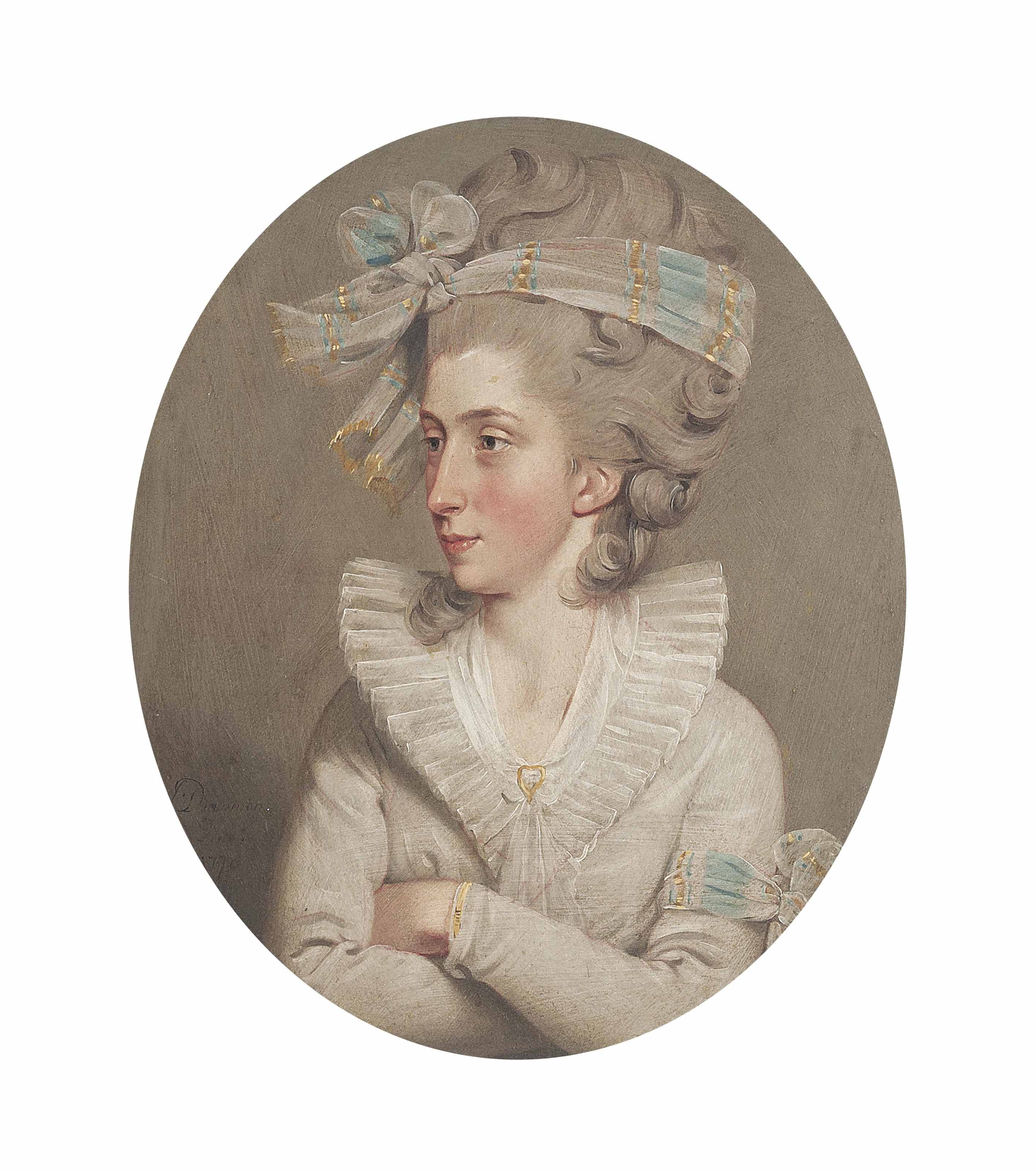 Portrait of Letitia Anna Philippa Pervis, bust-length, in a white dress