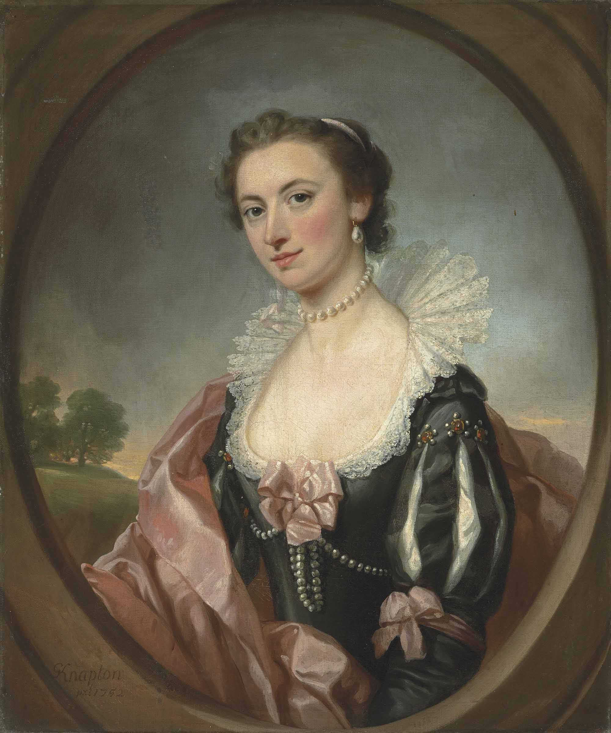 Portrait of Mary Gell (c. 1727-1791), half-length, in van Dyck costume, in a feigned oval