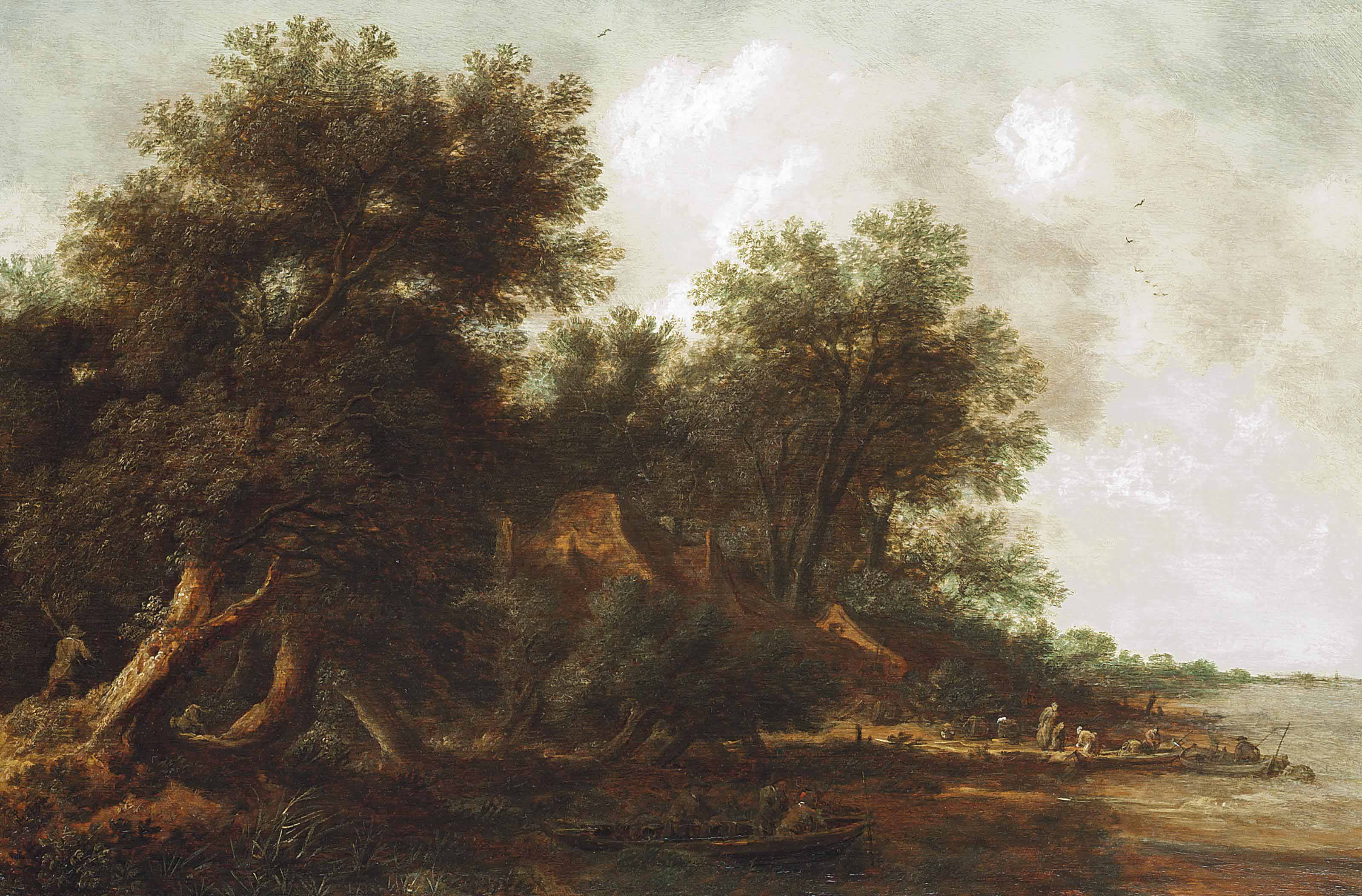 A wooded river landscape with fishermen on boats and other figures