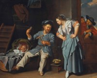 A man spinning yarn with a peasant woman and a baby in a wicker cot