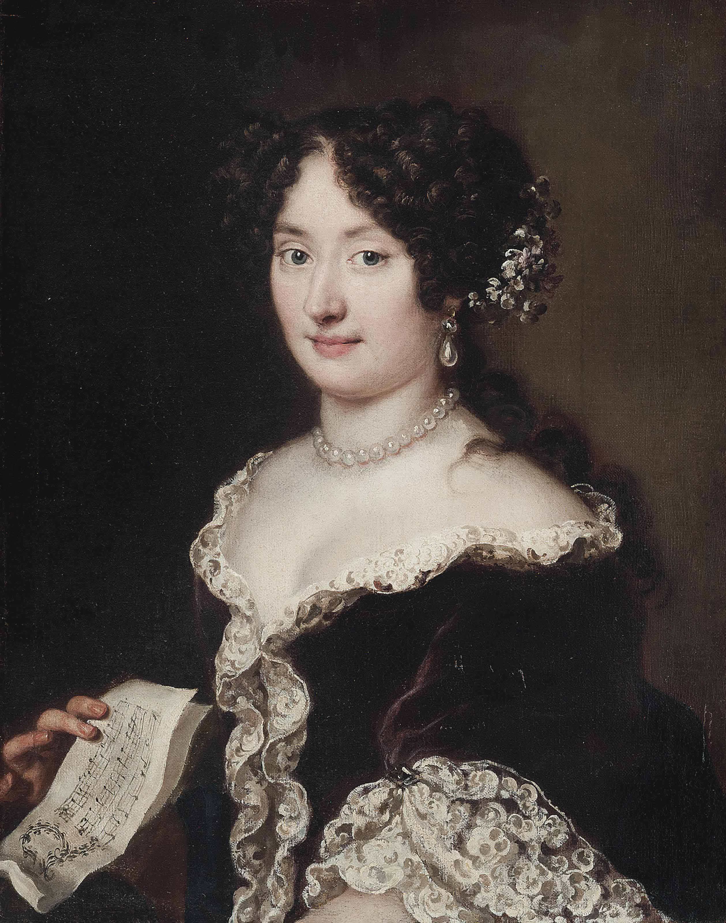Portrait of a lady, half-length, in a brown dress, with flowers in her hair and wearing a pearl necklace and earrings, holding a sheet of music in her right hand
