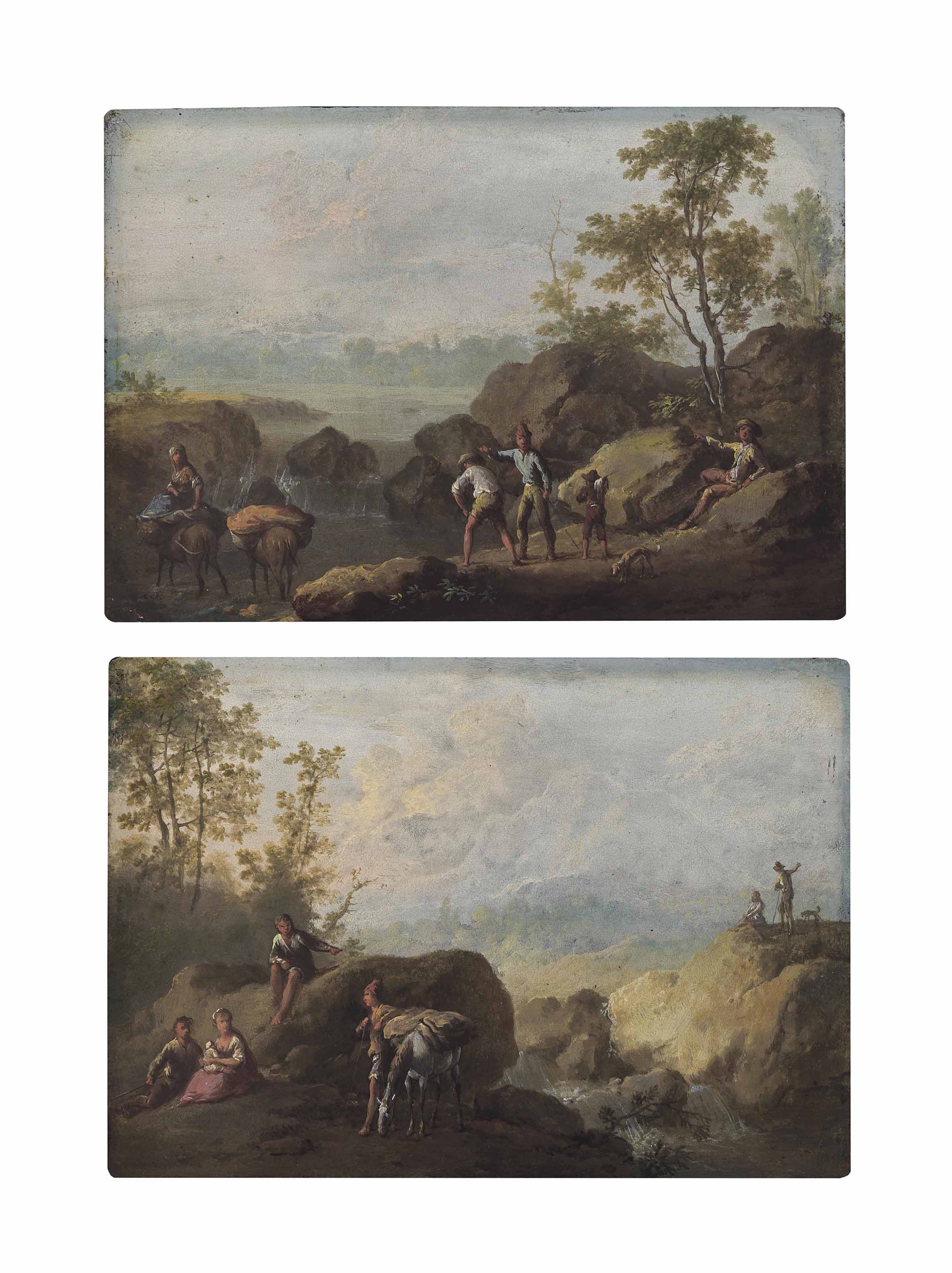 A river landscape with travellers resting on banks; and A river landscape with travellers crossing a river