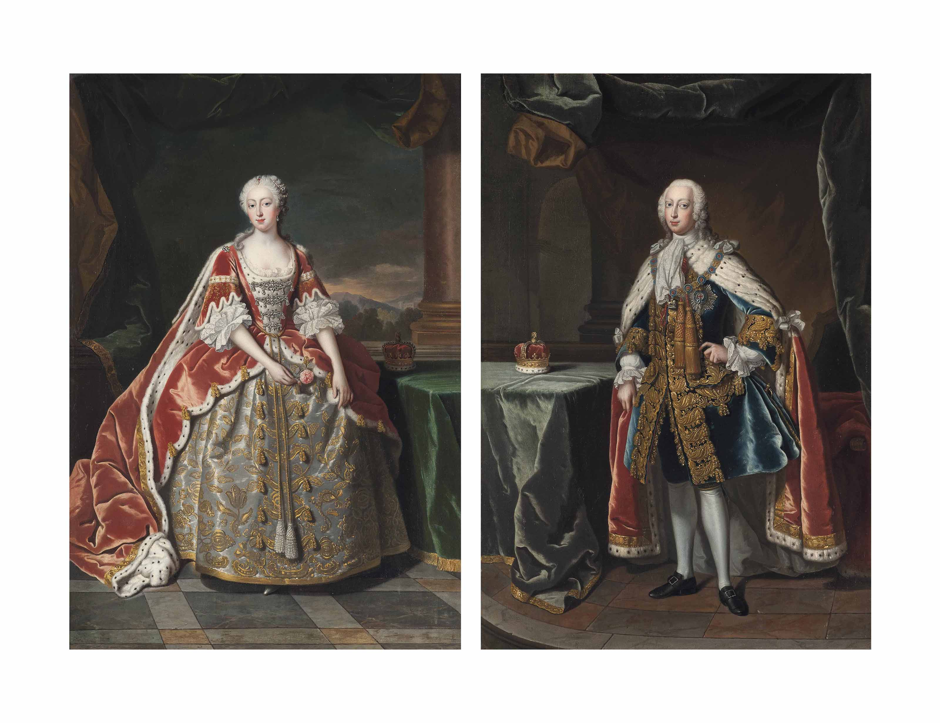 Portrait of Frederick (1707-1751), Prince of Wales, small full-length, in robes of state, with the Star of the Garter, beside a table with his coronet; and Portrait of Augusta (1719-1772), Princess of Wales, small full-length, in a laced dress and robes of state, beside a table with her coronet