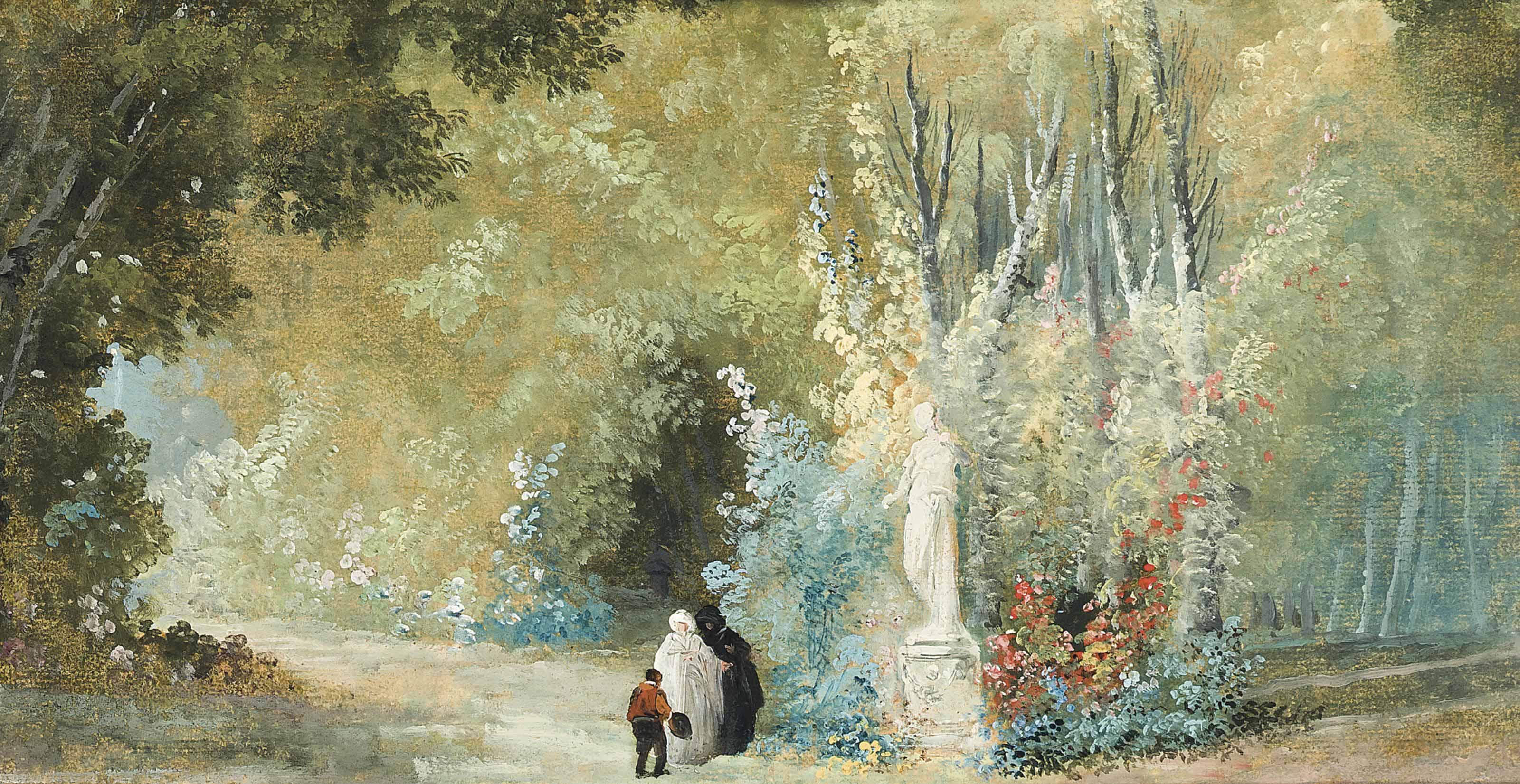 A parkland landscape with elegant figures before a statue