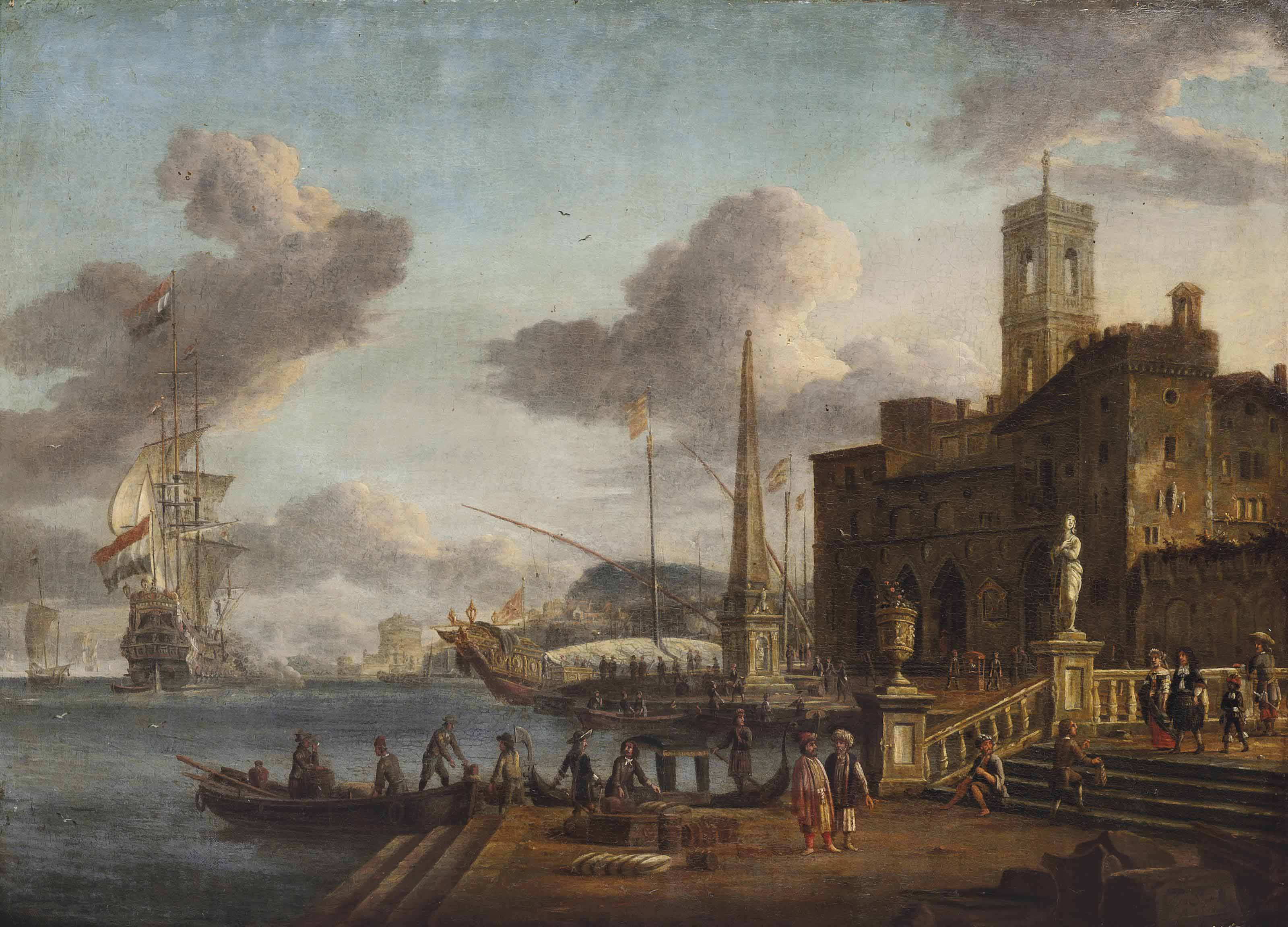 A Mediterranean harbour scene with figures in Oriental dress, shipping beyond