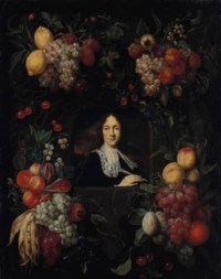 A sculpted cartouche with a garland of lemons, grapes, cherries, figs, apricots, strawberries and other fruits, surrounding a portrait of a gentleman, bust-length, in a black doublet and white lace standing collar, holding a quill in his right hand