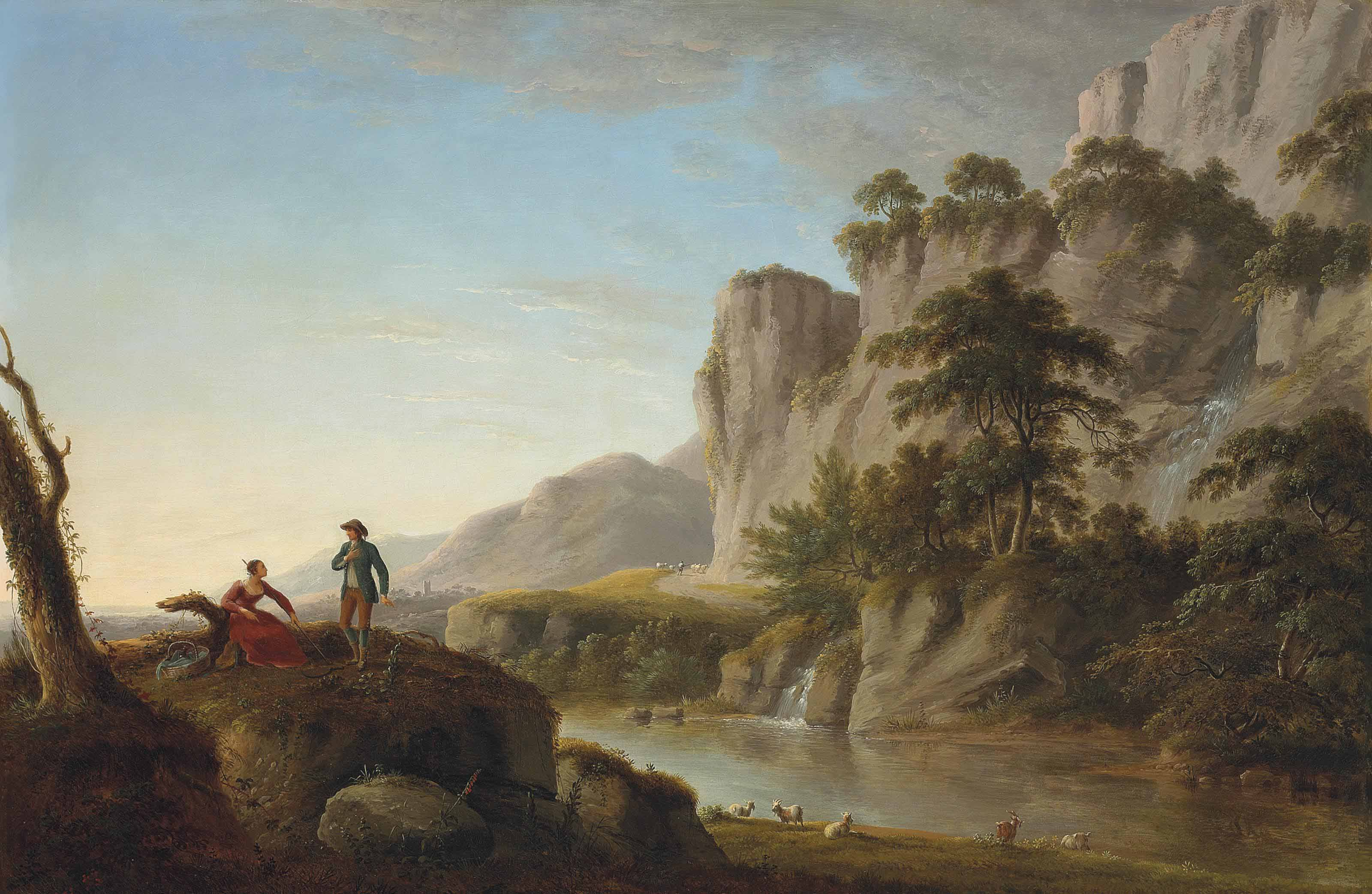 A pastoral river landscape with an elegant couple conversing