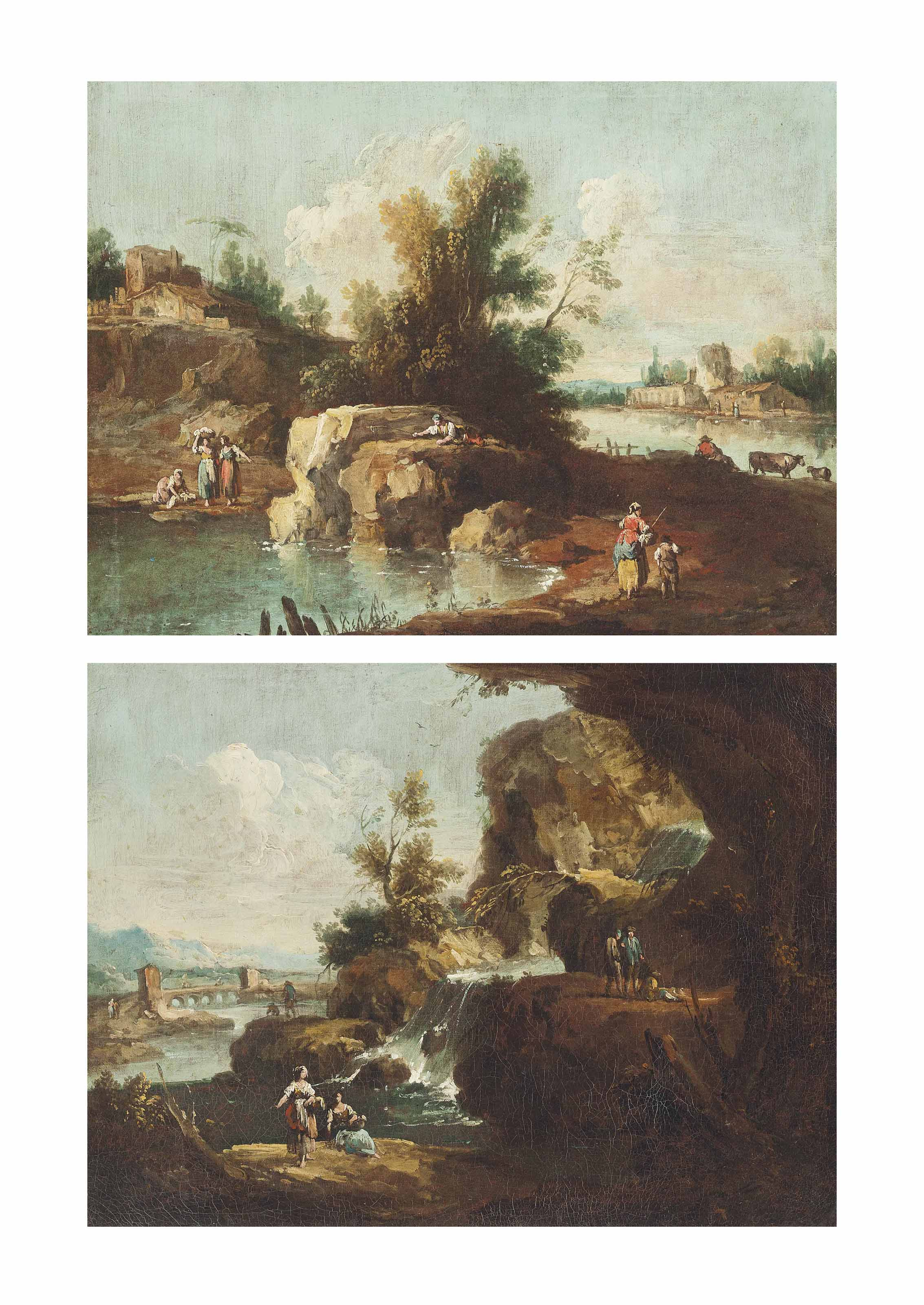 A river landscape with travellers, fishermen, washerwomen and other figures on the banks; and A river landscape with washerwomen and other figures near a waterfall, a bridge beyond