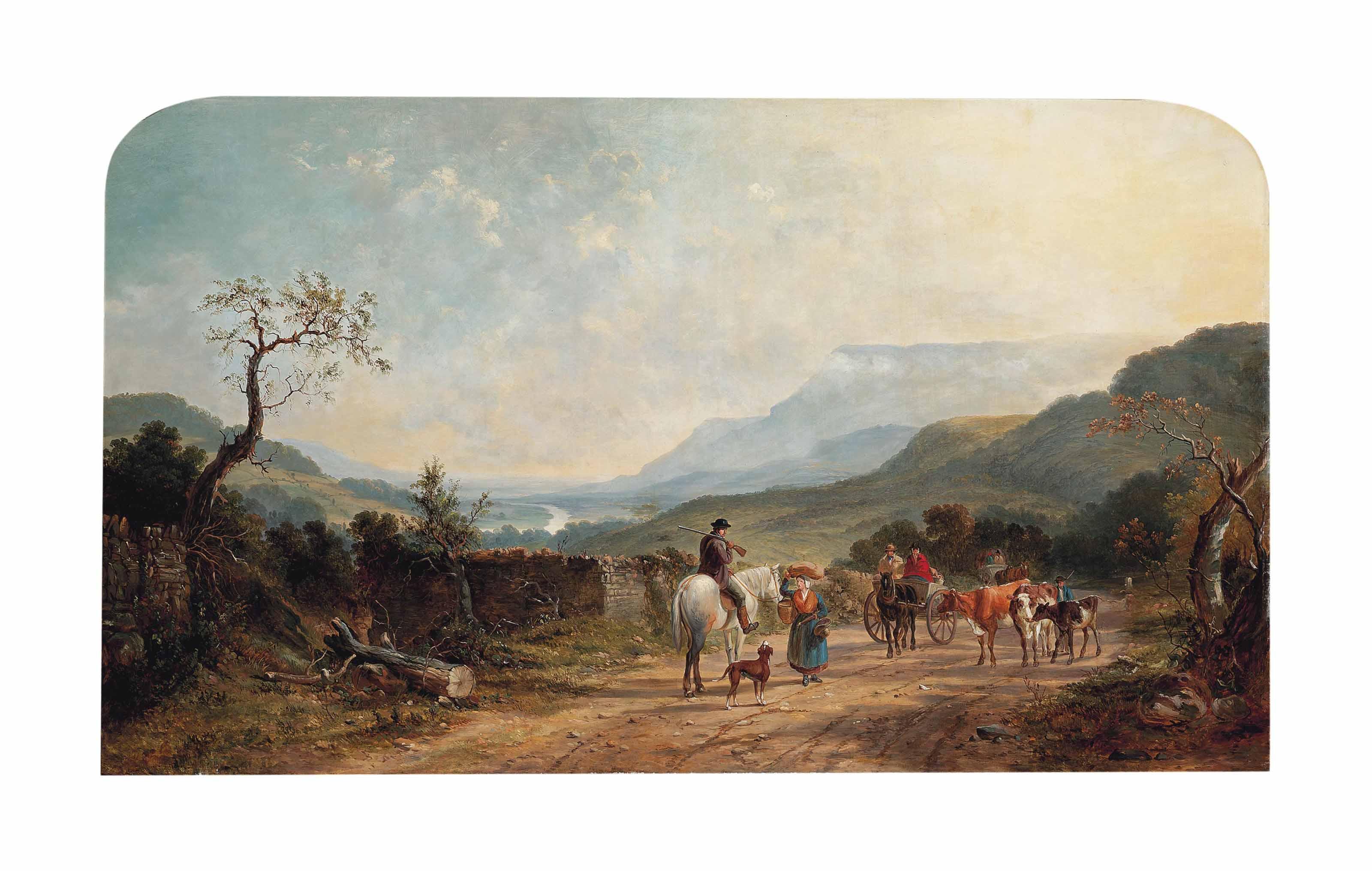 Travellers on a beaten track, an extensive landscape beyond
