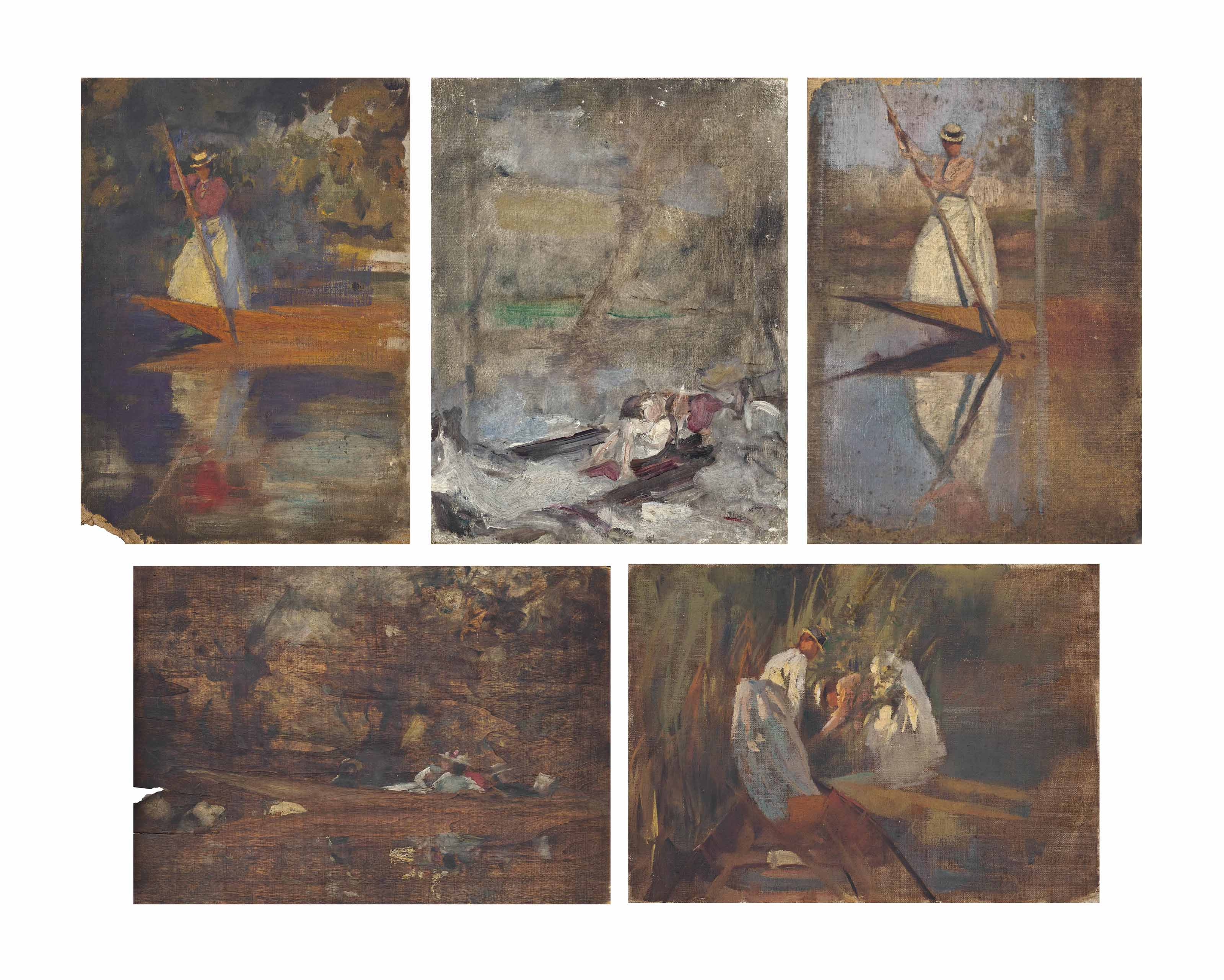 Five oil studies of ladies punting