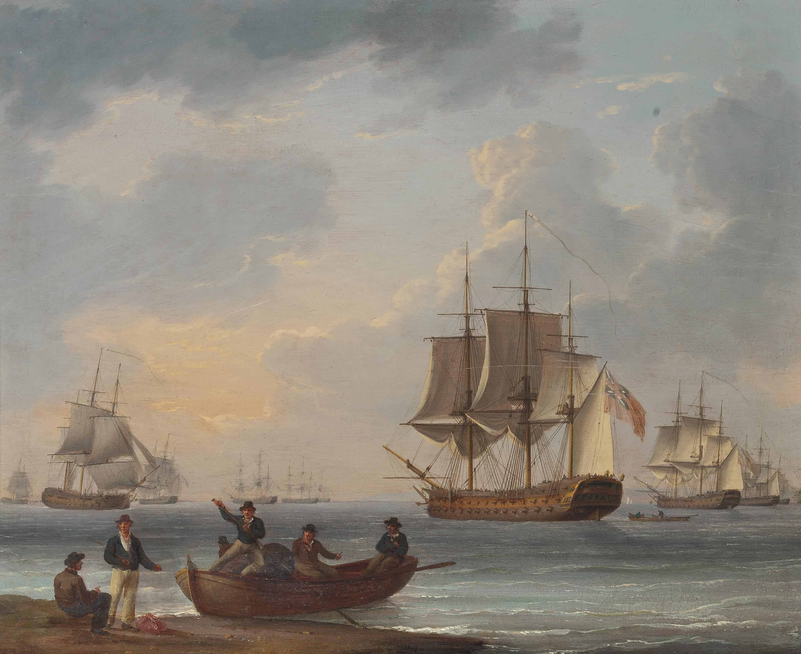 Sailors pushing off from shore to join the fleet