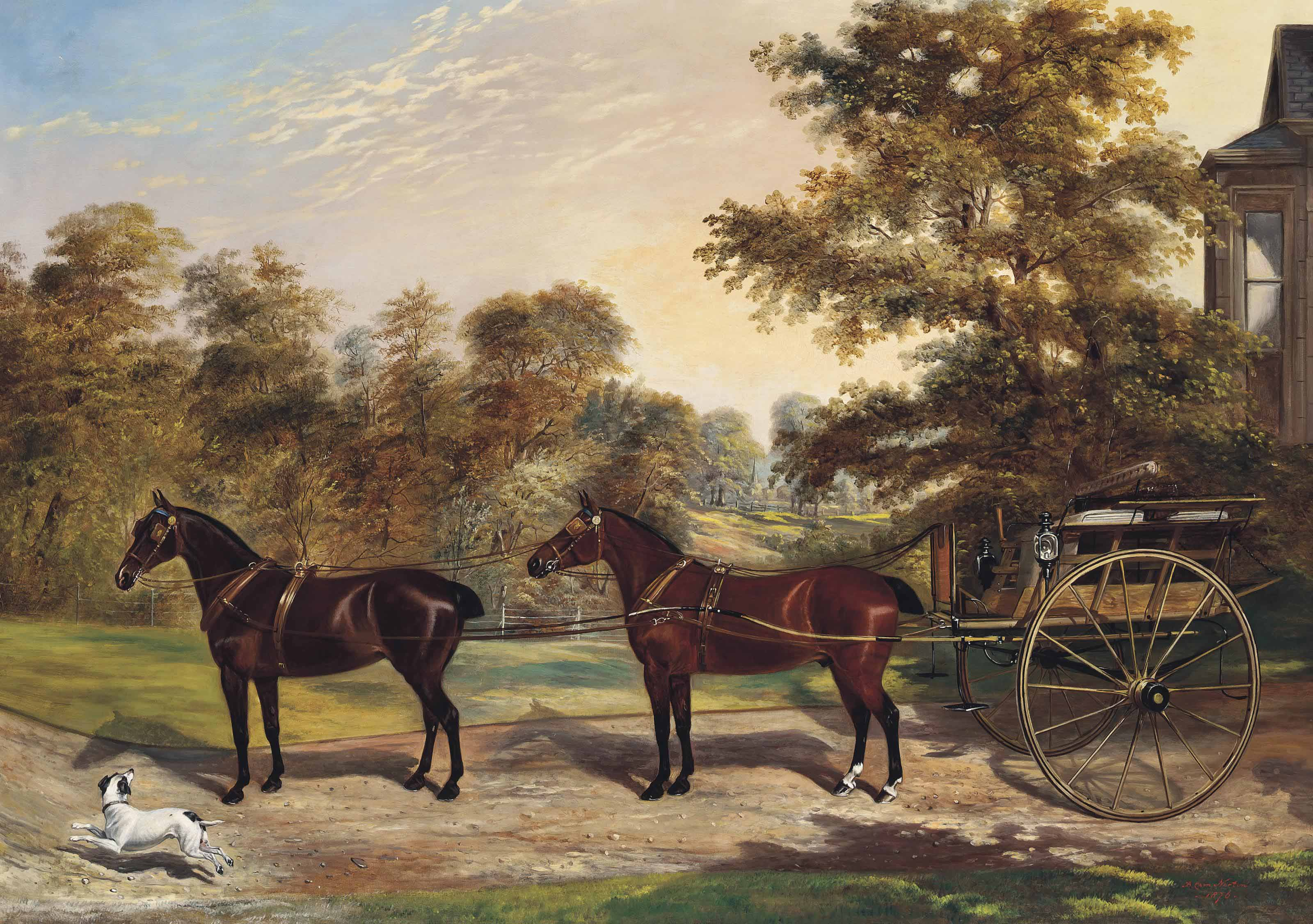 Carriage horses harnessed in tandem