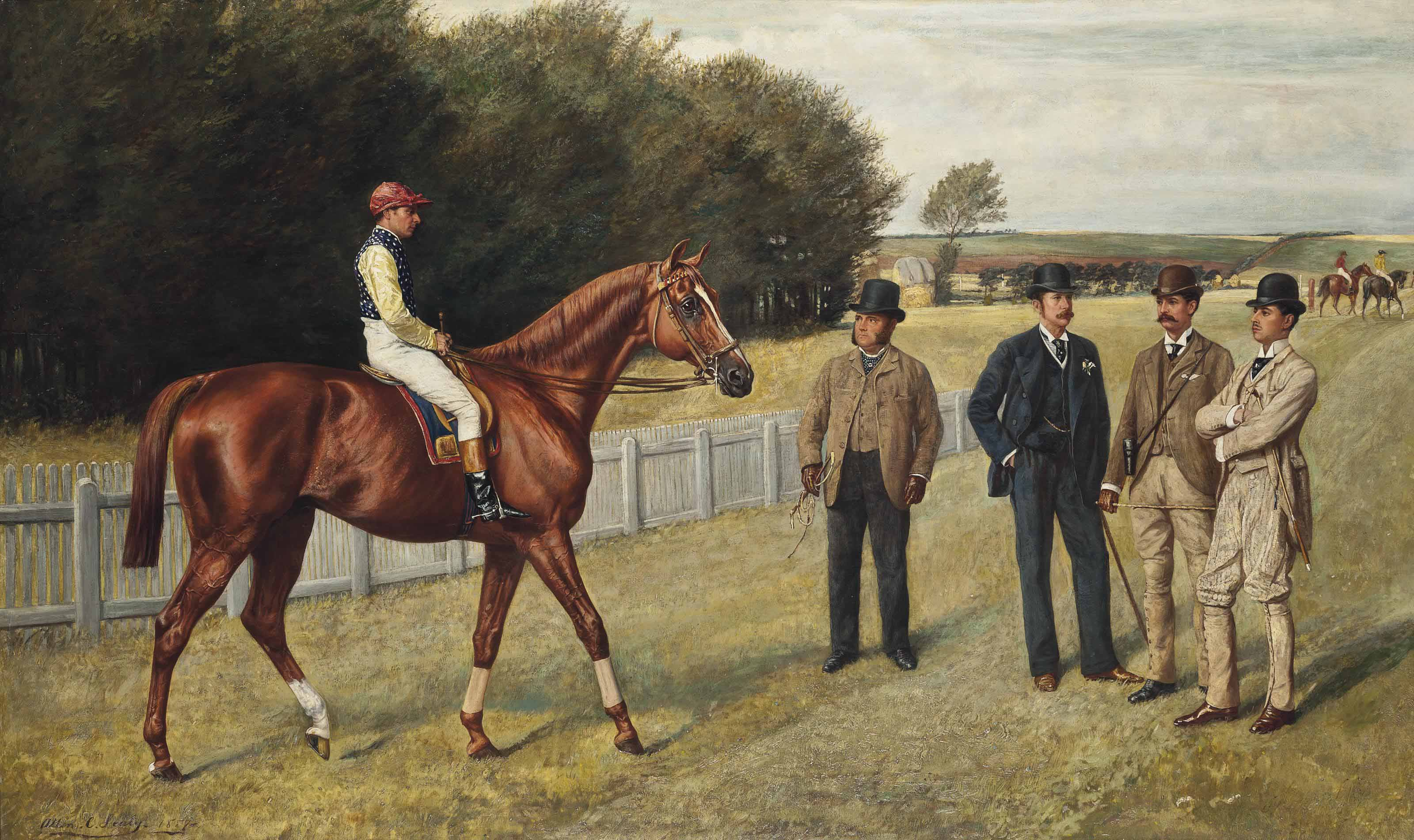 The racehorse Kingswood with C. Wood up, the trainer Sherrad and Sir G. Chetwynnd, Bart., Lord Lurgan, and Mr E.H. Benson standing nearby