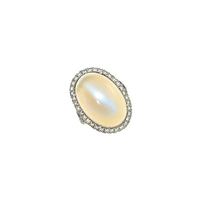 An 18ct white gold moonstone a