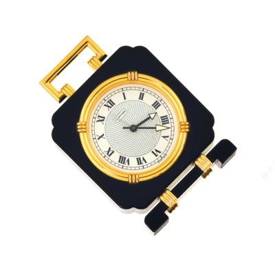 A gilt quartz table clock, by